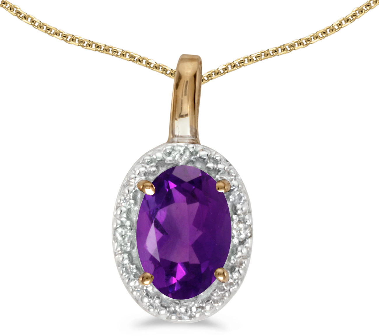 14k Yellow Gold Oval Amethyst And Diamond Pendant (Chain NOT included) (CM-P2615X-02)