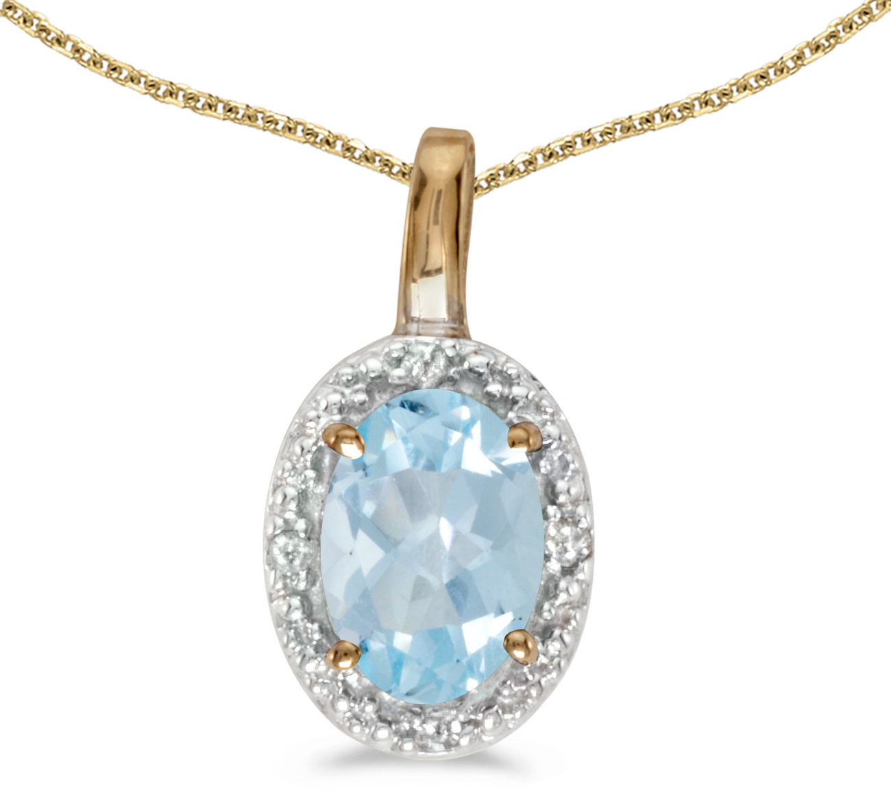 14k Yellow Gold Oval Aquamarine And Diamond Pendant (Chain NOT included) (CM-P2615X-03)