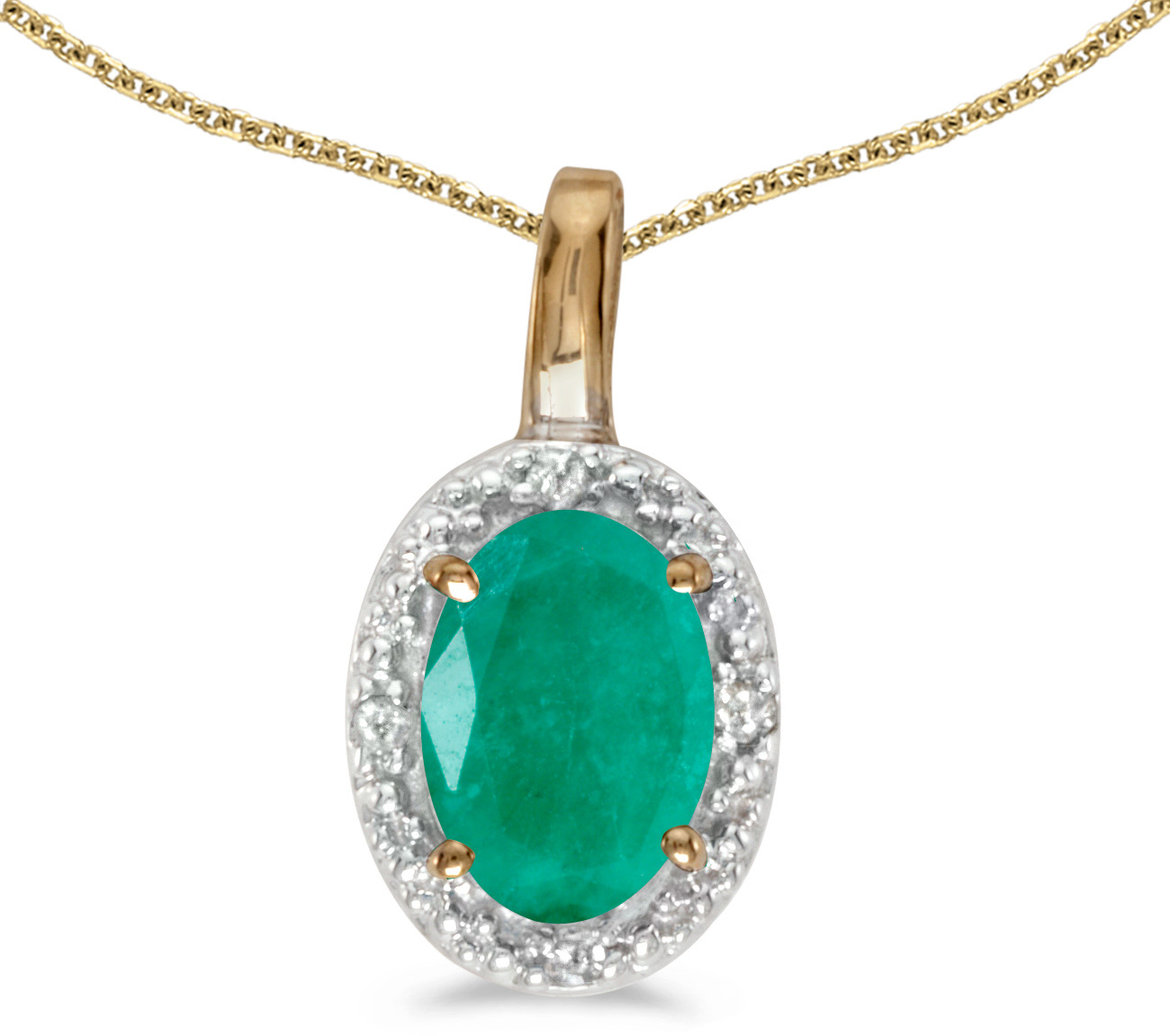 14k Yellow Gold Oval Emerald And Diamond Pendant (Chain NOT included) (CM-P2615X-05)