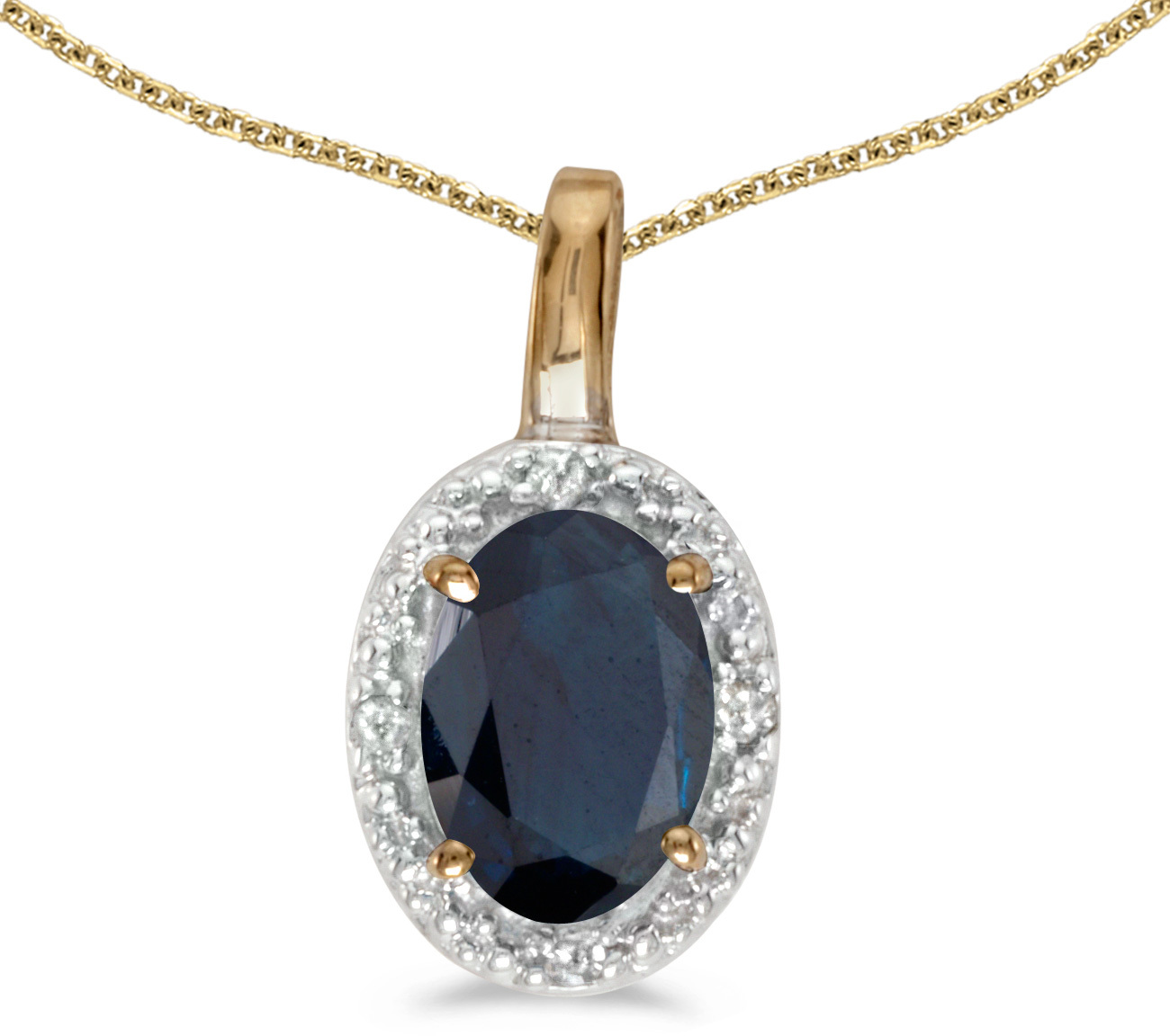 14k Yellow Gold Oval Sapphire And Diamond Pendant (Chain NOT included) (CM-P2615X-09)