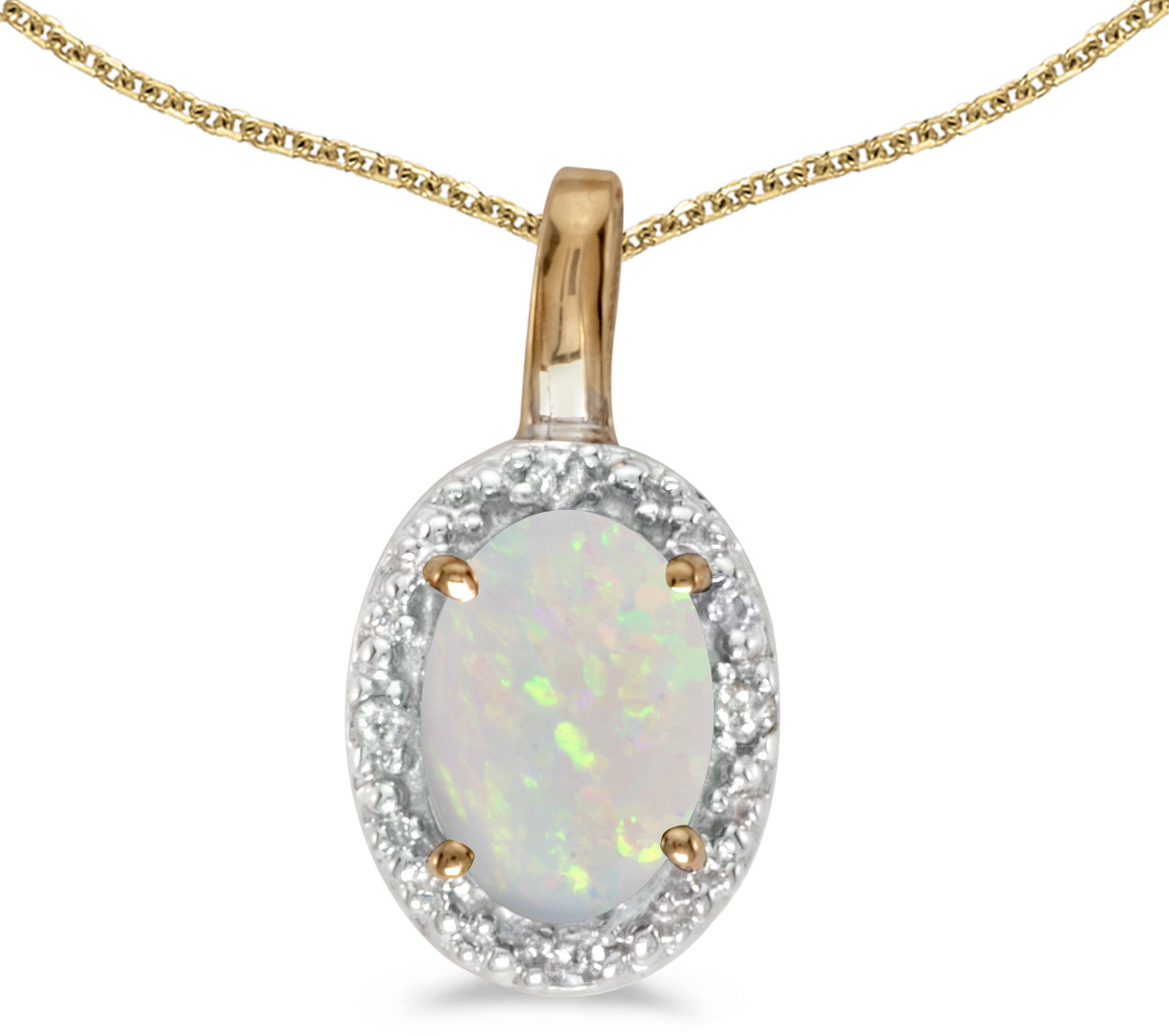 14k Yellow Gold Oval Opal And Diamond Pendant (Chain NOT included) (CM-P2615X-10)