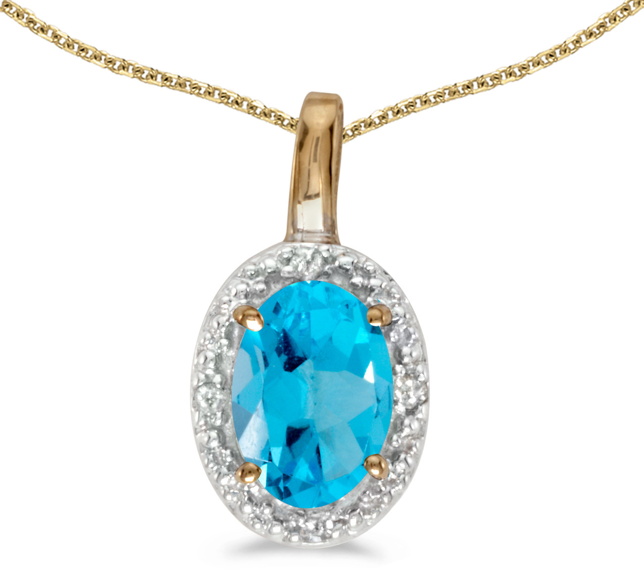 14k Yellow Gold Oval Blue Topaz And Diamond Pendant (Chain NOT included) (CM-P2615X-12)
