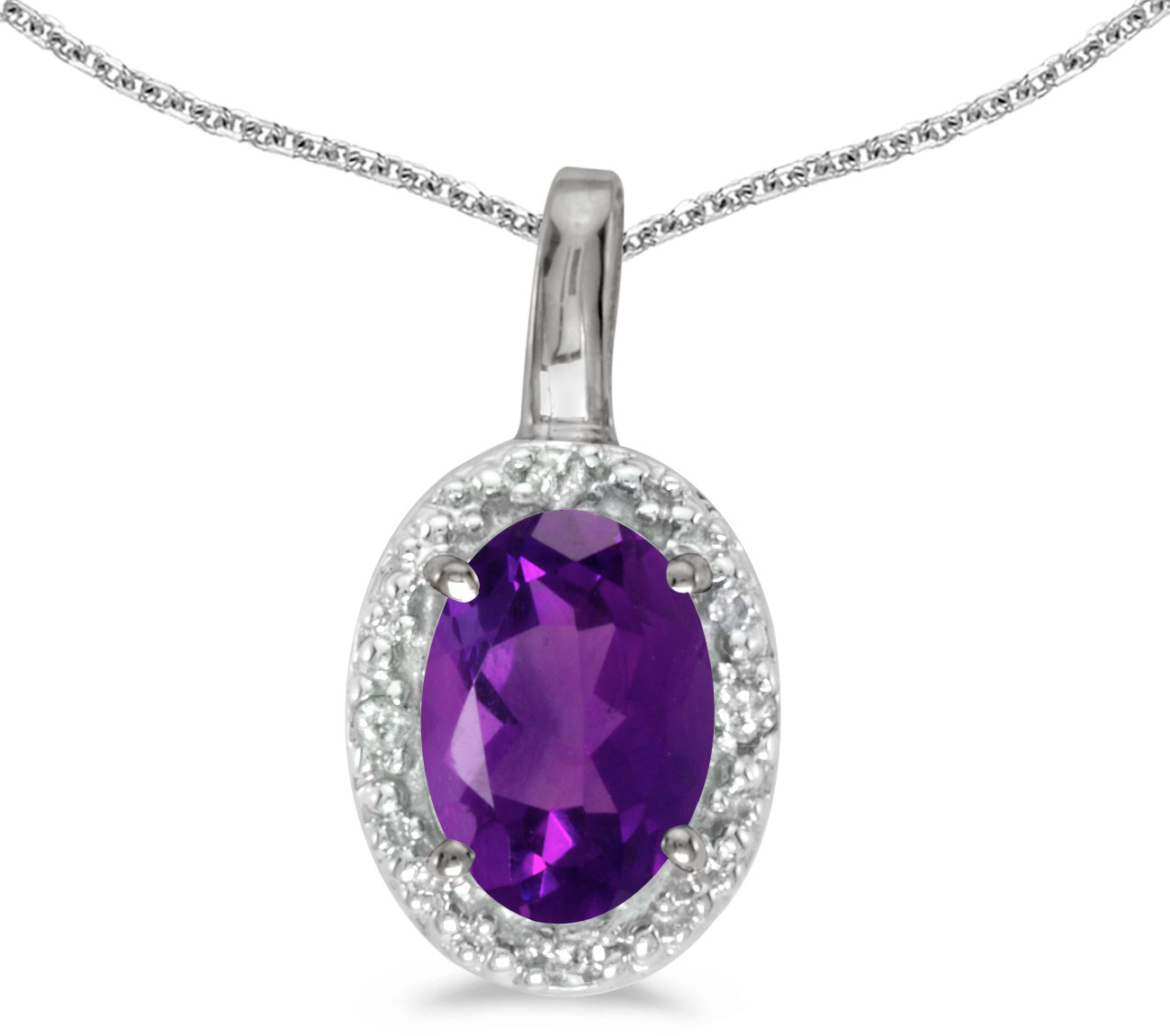 14k White Gold Oval Amethyst And Diamond Pendant (Chain NOT included) (CM-P2615XW-02)