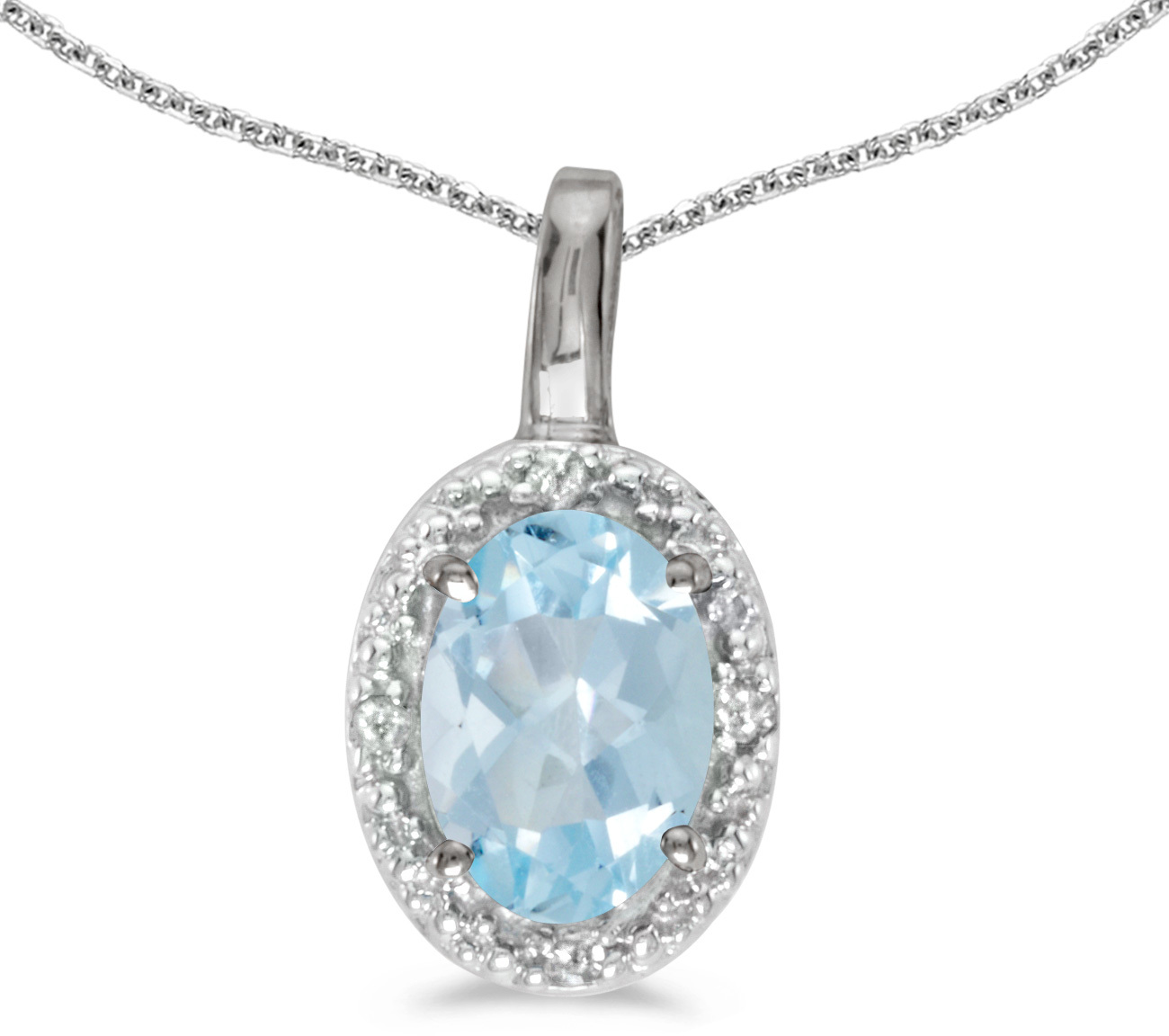 14k White Gold Oval Aquamarine And Diamond Pendant (Chain NOT included) (CM-P2615XW-03)