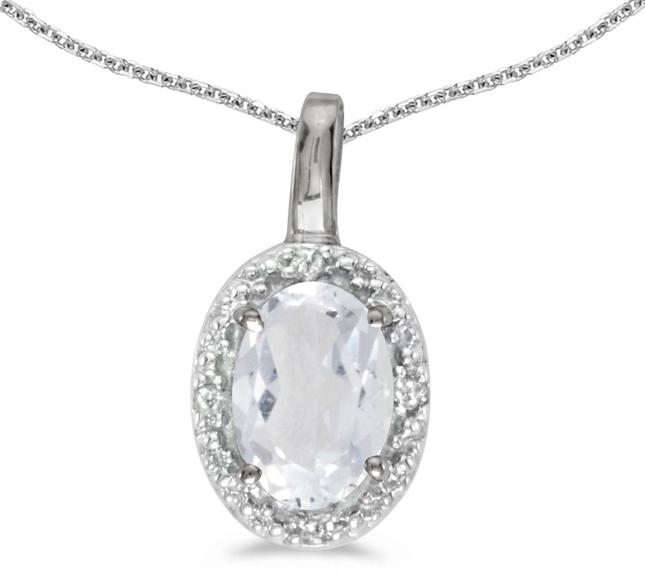 14k White Gold Oval White Topaz And Diamond Pendant (Chain NOT included) (CM-P2615XW-04)