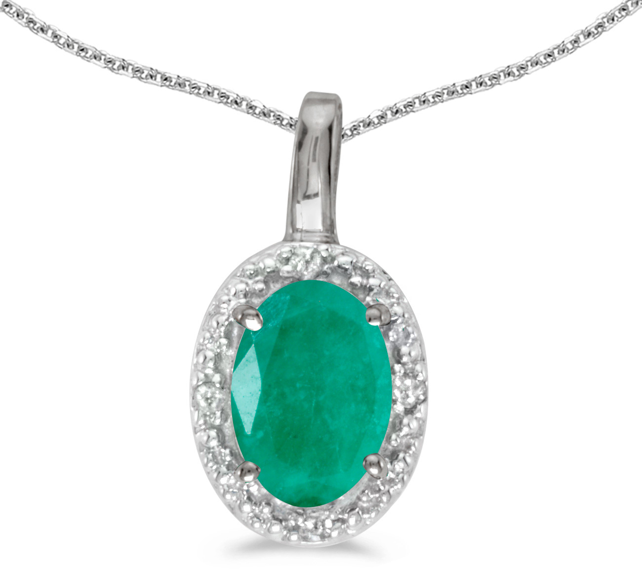 14k White Gold Oval Emerald And Diamond Pendant (Chain NOT included) (CM-P2615XW-05)