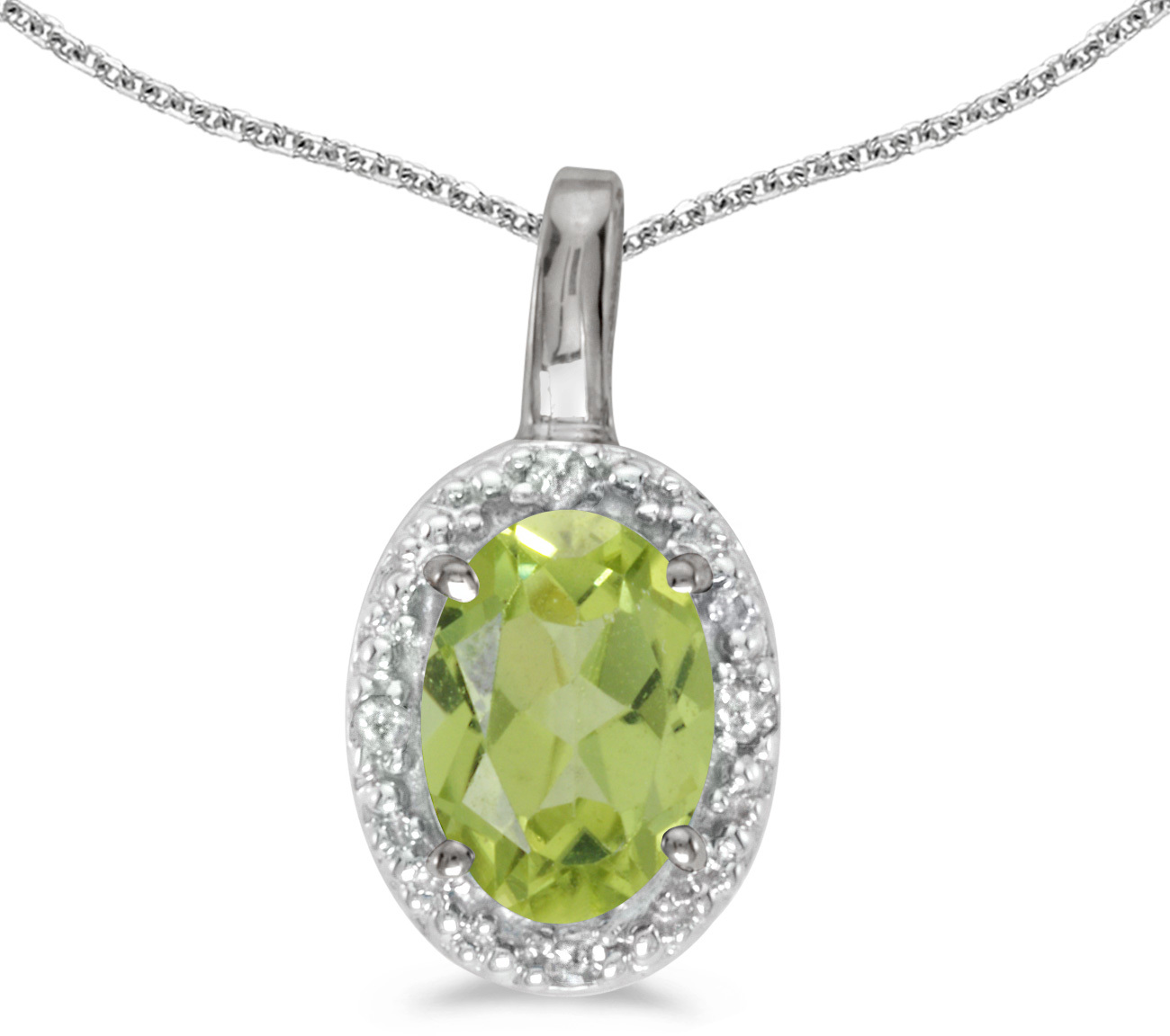 14k White Gold Oval Peridot And Diamond Pendant (Chain NOT included) (CM-P2615XW-08)