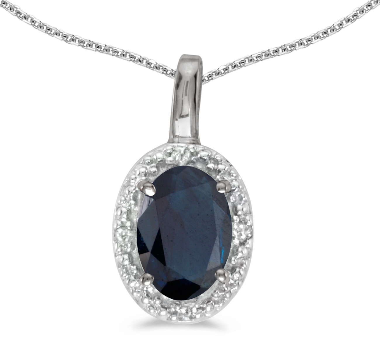 14k White Gold Oval Sapphire And Diamond Pendant (Chain NOT included) (CM-P2615XW-09)
