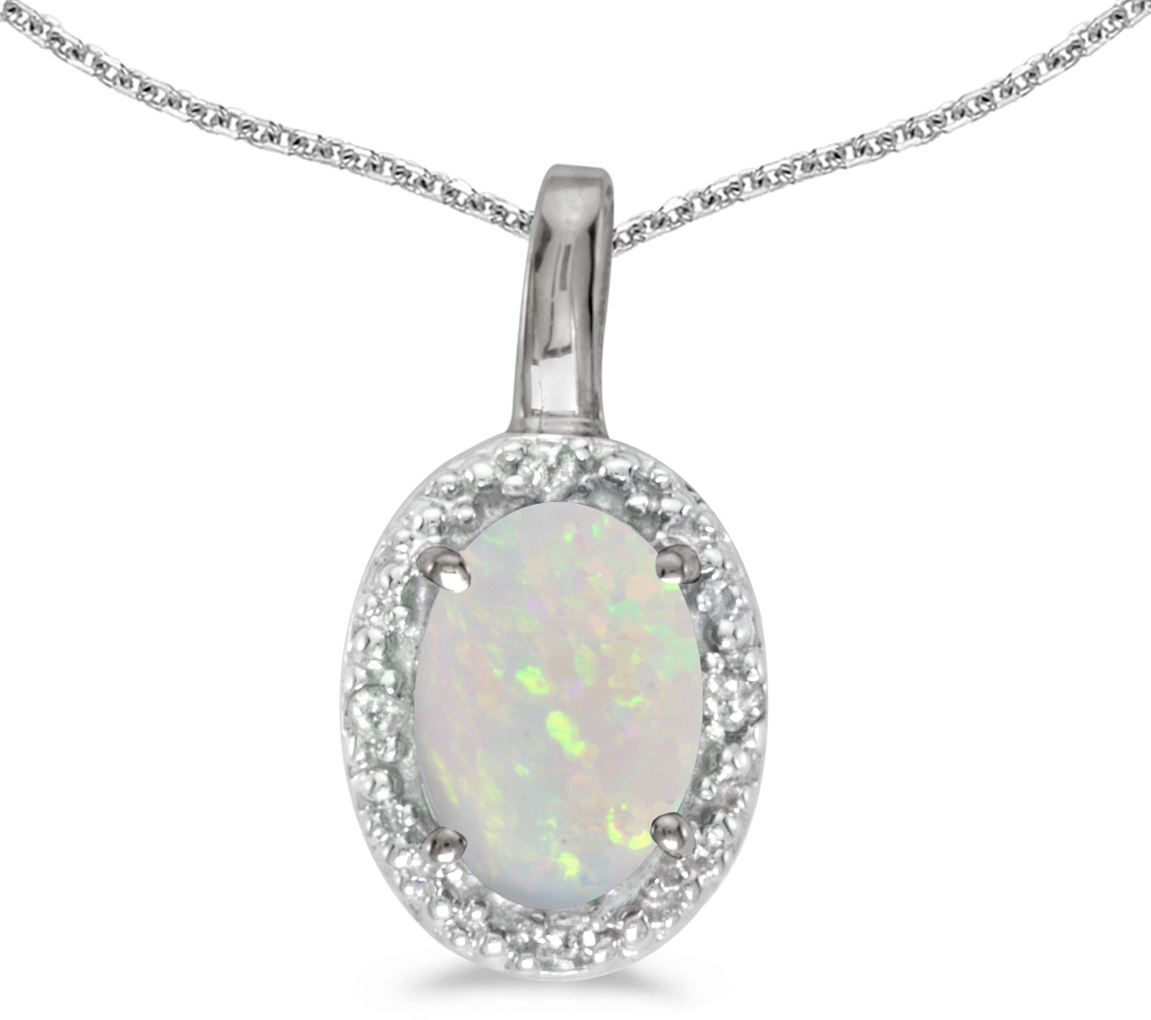14k White Gold Oval Opal And Diamond Pendant (Chain NOT included) (CM-P2615XW-10)