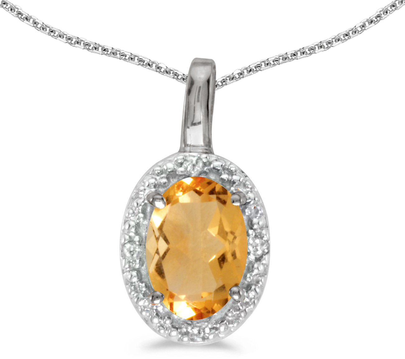 14k White Gold Oval Citrine And Diamond Pendant (Chain NOT included) (CM-P2615XW-11)