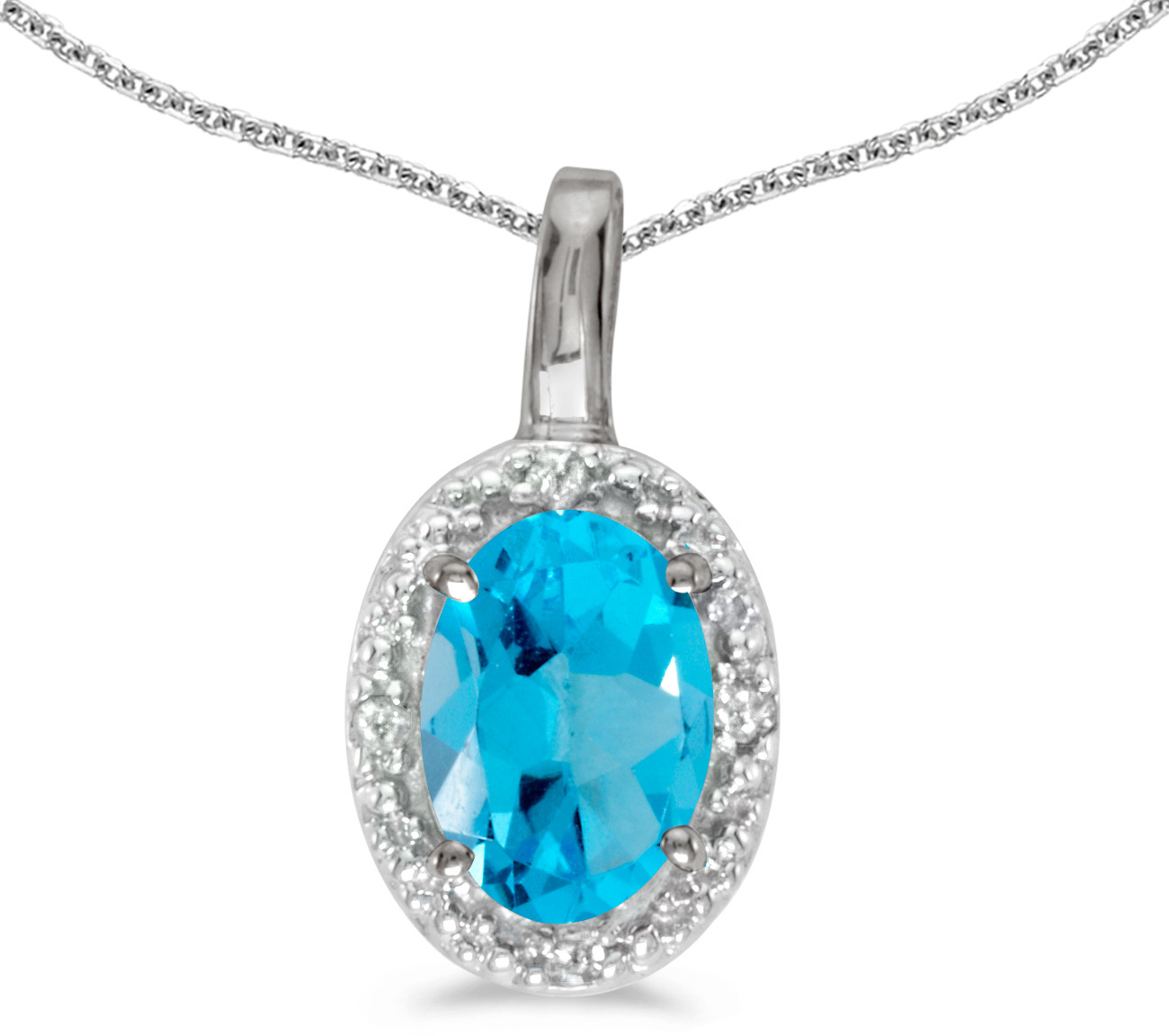14k White Gold Oval Blue Topaz And Diamond Pendant (Chain NOT included) (CM-P2615XW-12)