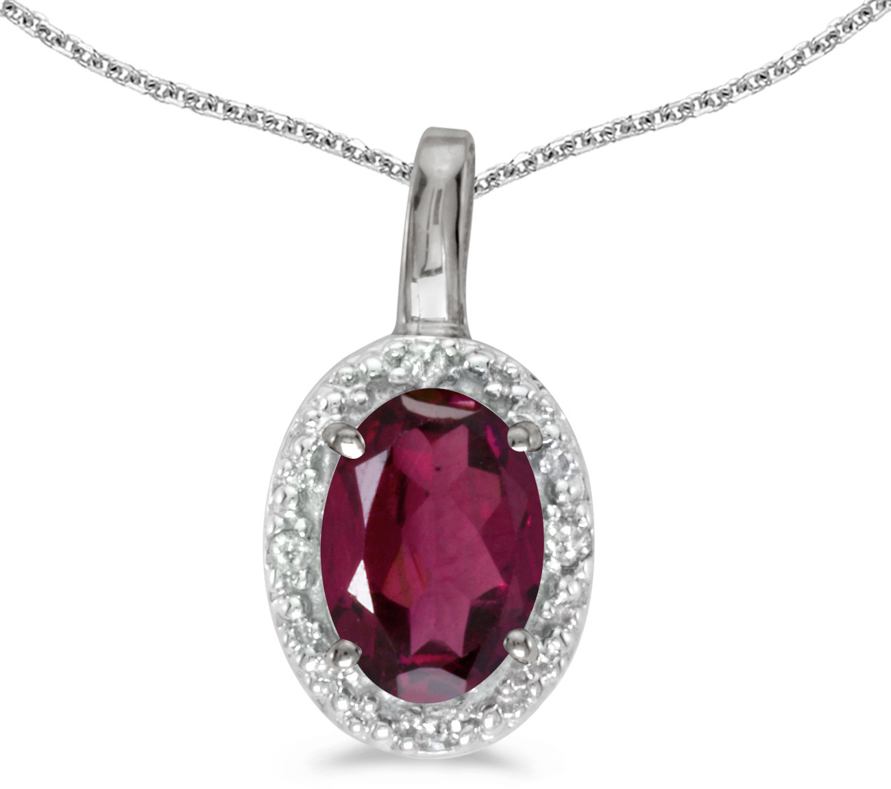 14k White Gold Oval Rhodolite Garnet And Diamond Pendant (Chain NOT included) (CM-P2615XW-RG)