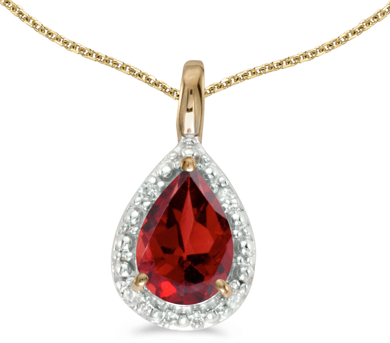 14k Yellow Gold Pear Garnet Pendant (Chain NOT included)