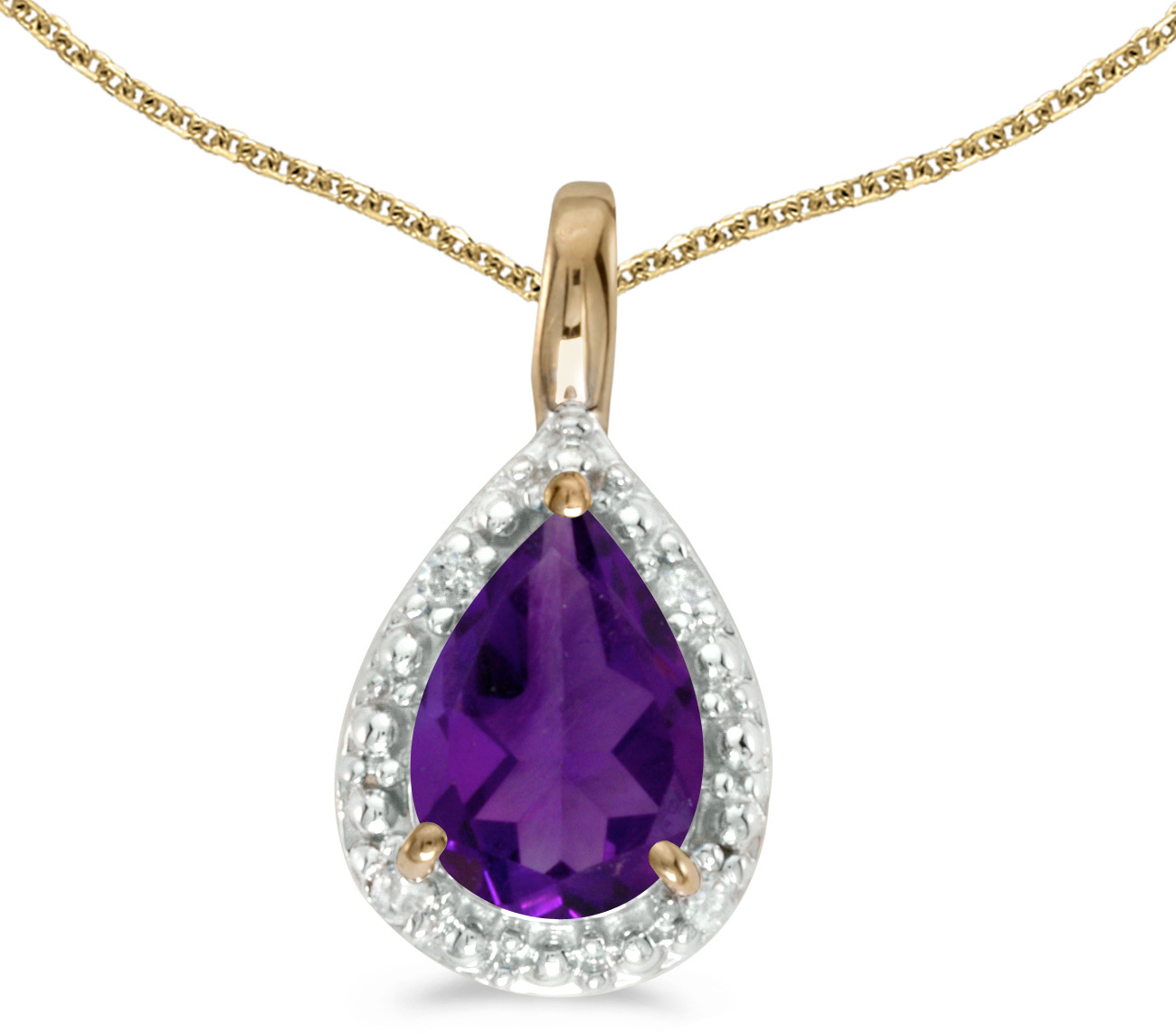 14k Yellow Gold Pear Amethyst Pendant (Chain NOT included)