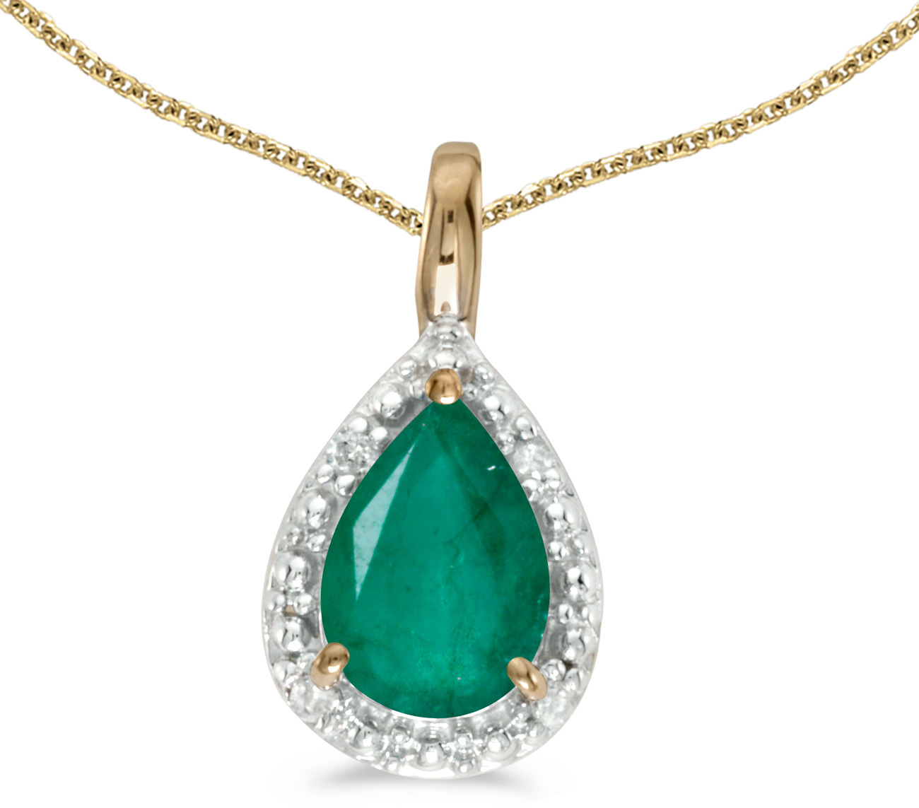 14k Yellow Gold Pear Emerald Pendant (Chain NOT included)