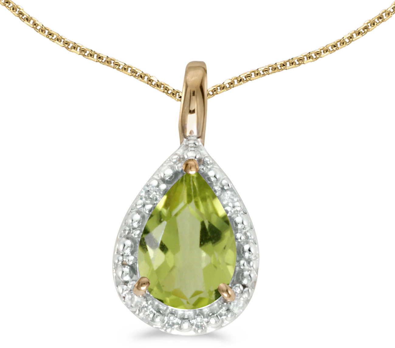 14k Yellow Gold Pear Peridot Pendant (Chain NOT included)