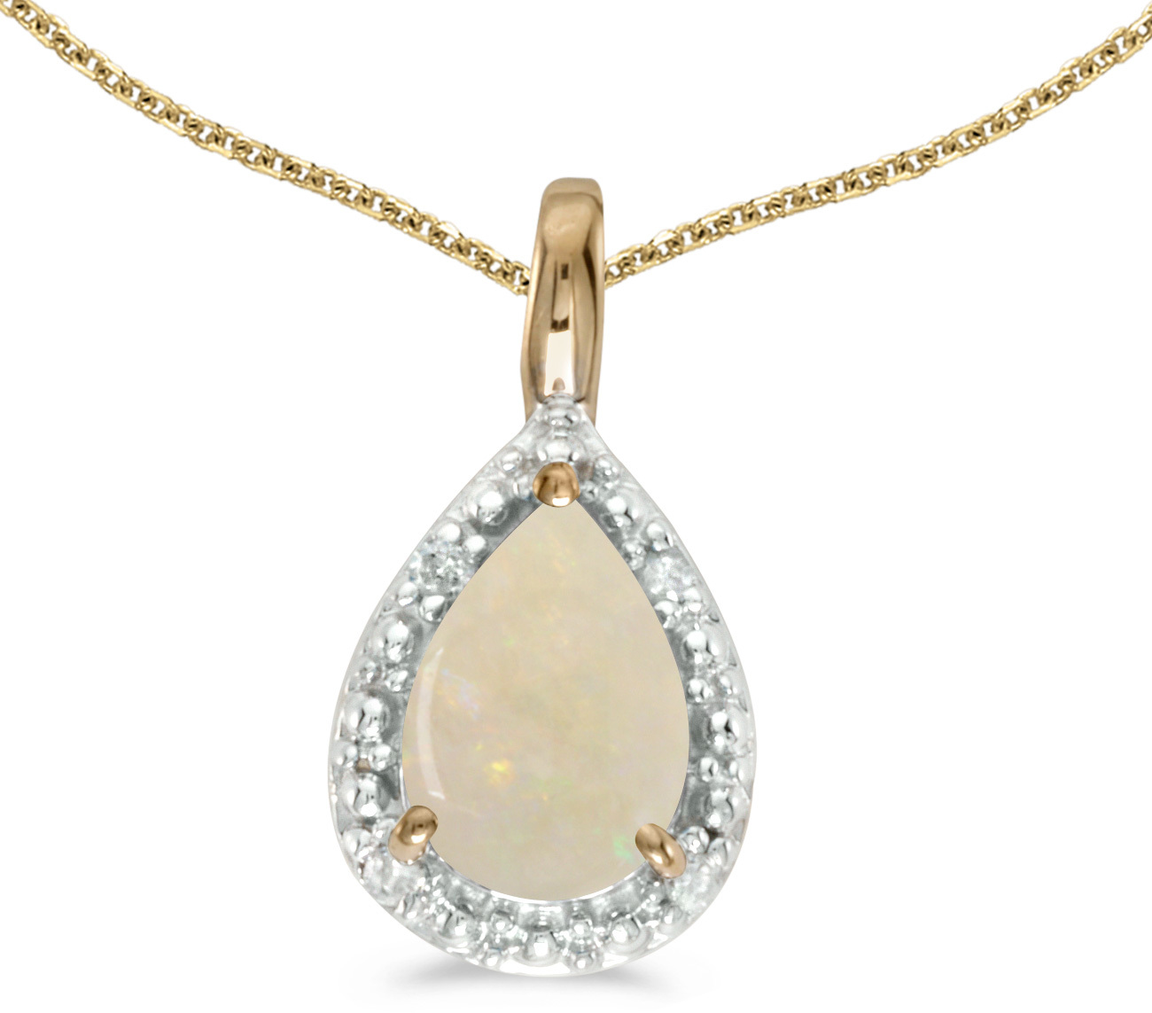 14k Yellow Gold Pear Opal Pendant (Chain NOT included)