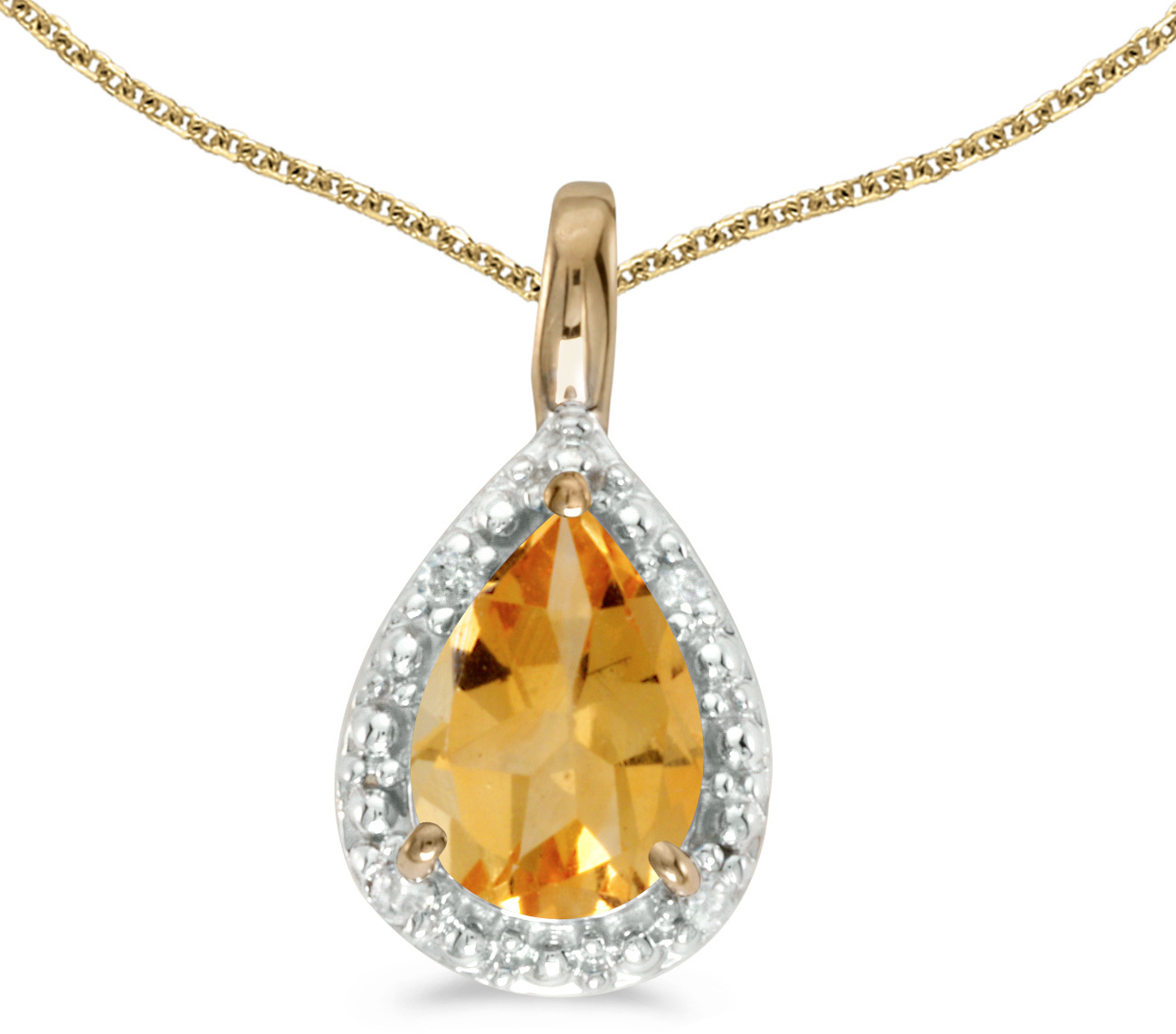 14k Yellow Gold Pear Citrine Pendant (Chain NOT included)