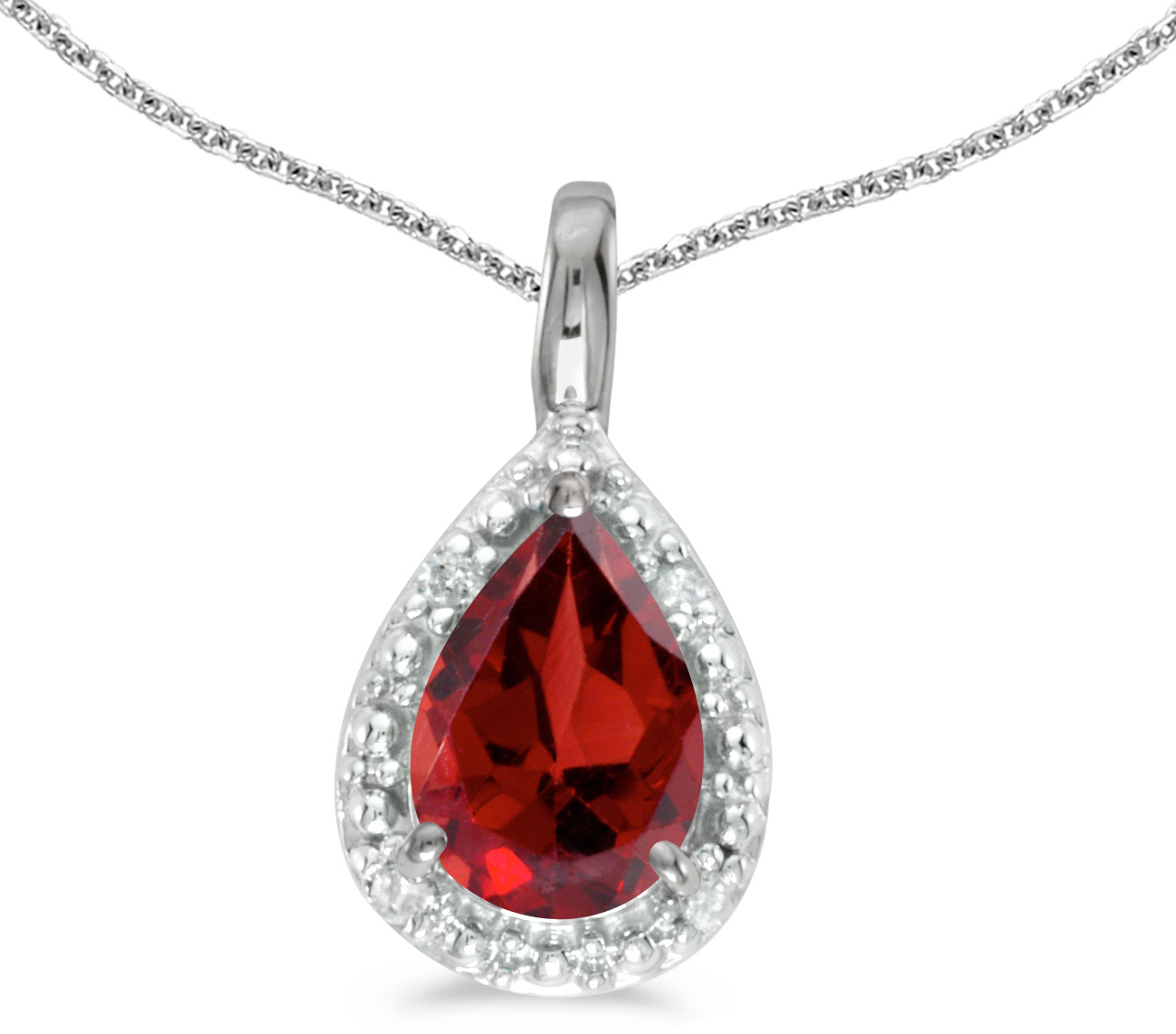 14k White Gold Pear Garnet Pendant (Chain NOT included)
