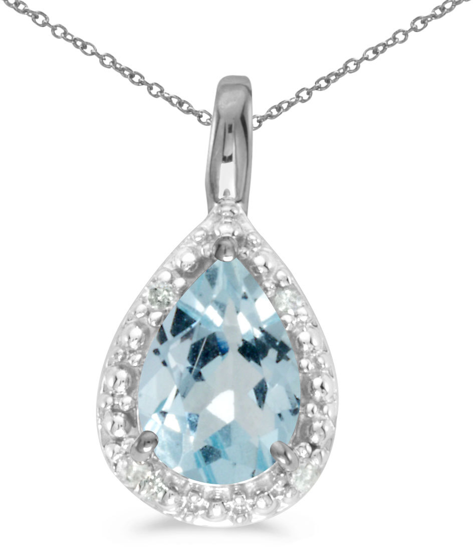 14k White Gold Pear Aquamarine Pendant (Chain NOT included)