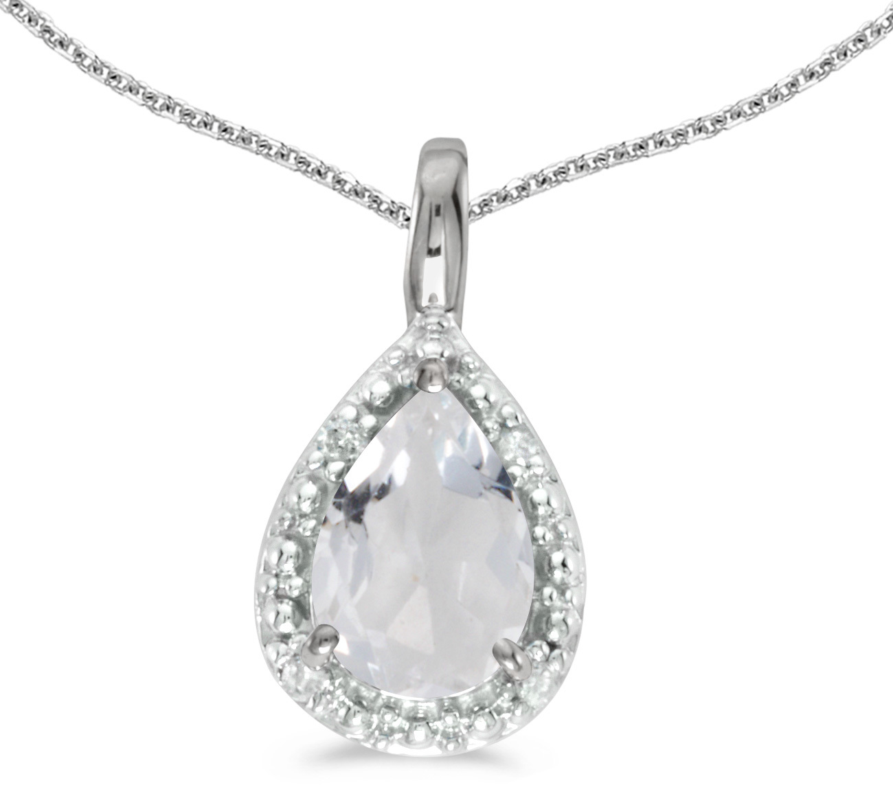 14k White Gold Pear White Topaz Pendant (Chain NOT included)