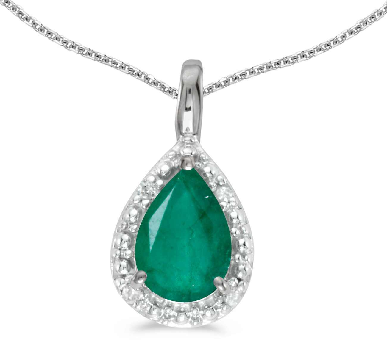 14k White Gold Pear Emerald Pendant (Chain NOT included)