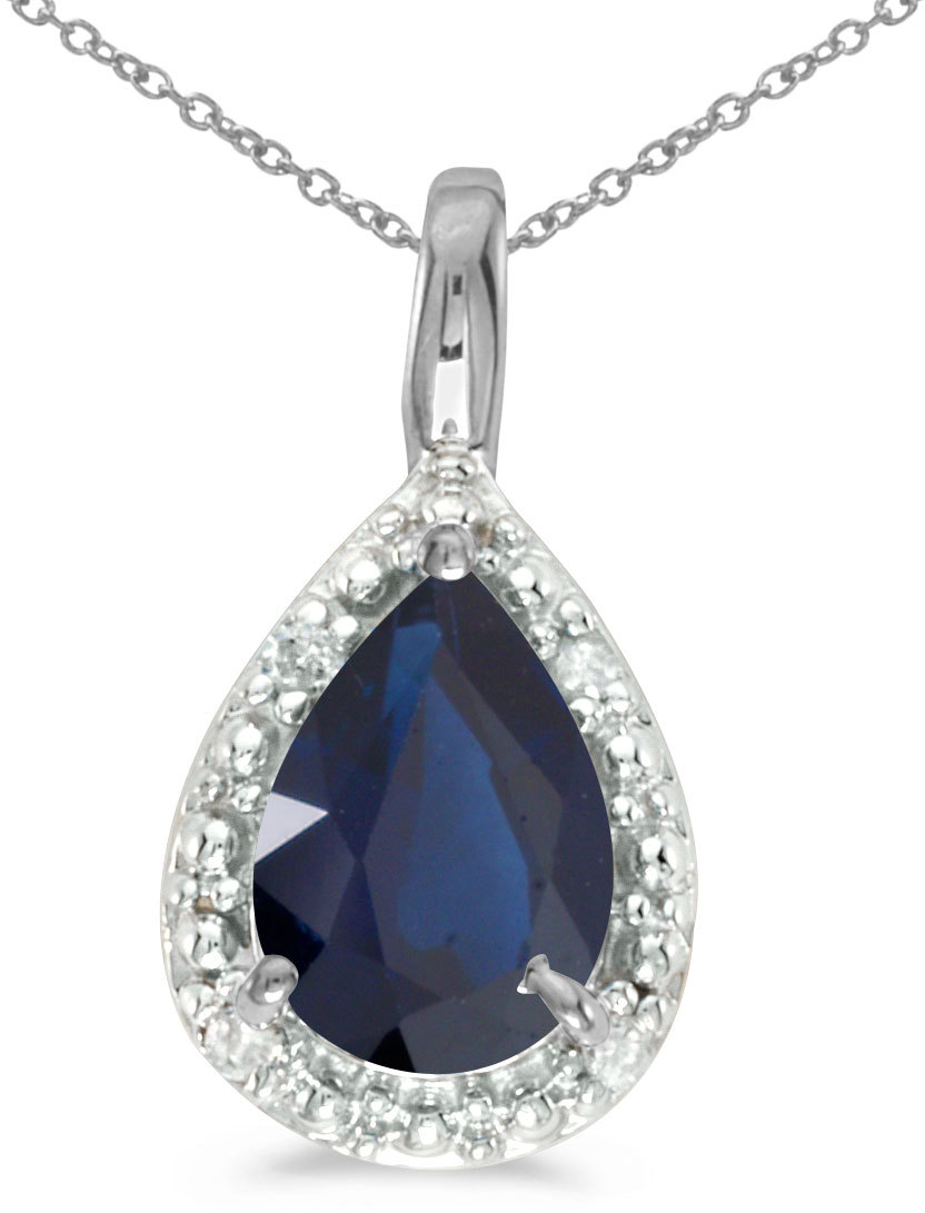 14k White Gold Pear Sapphire Pendant (Chain NOT included)