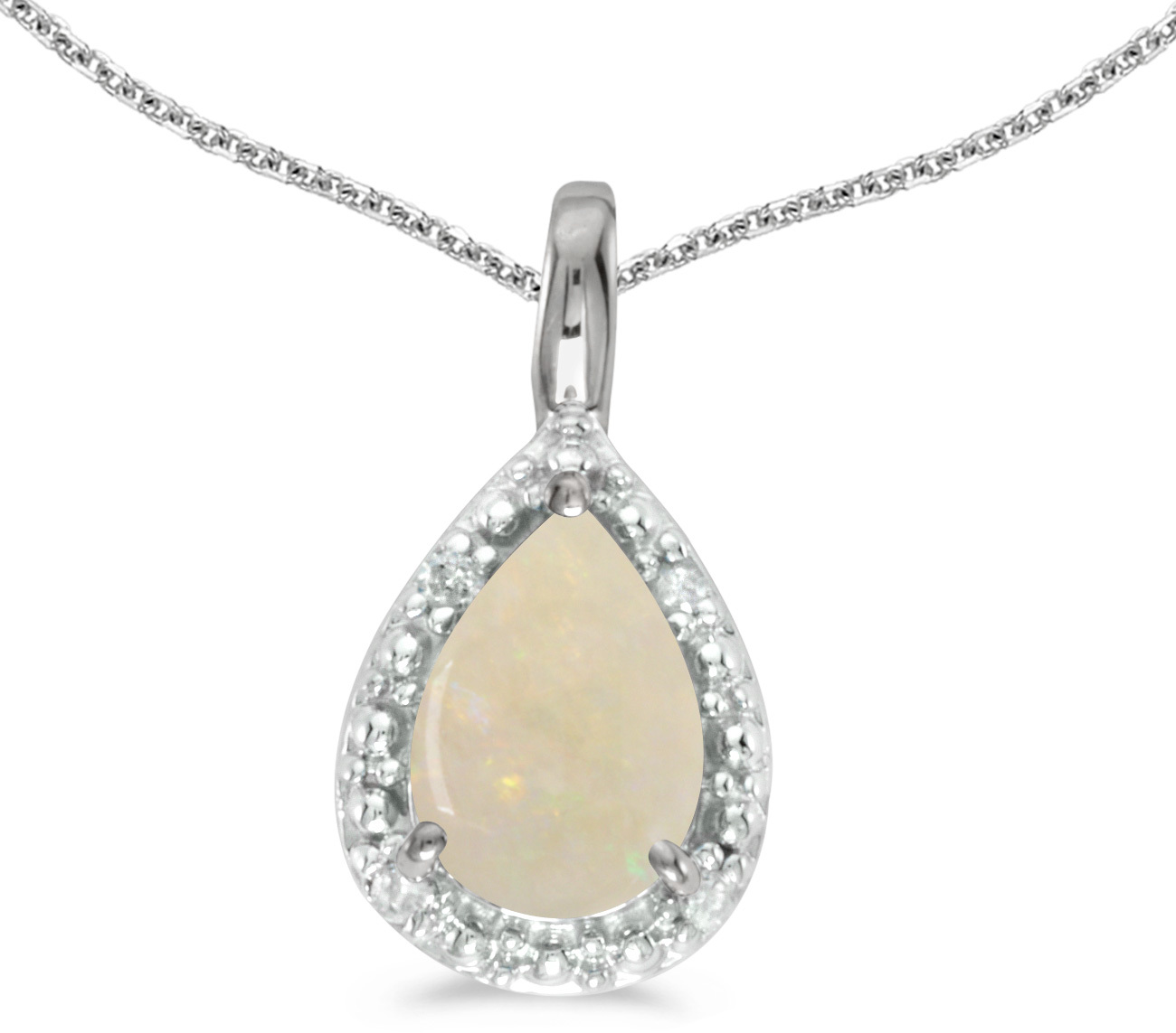 14k White Gold Pear Opal Pendant (Chain NOT included)