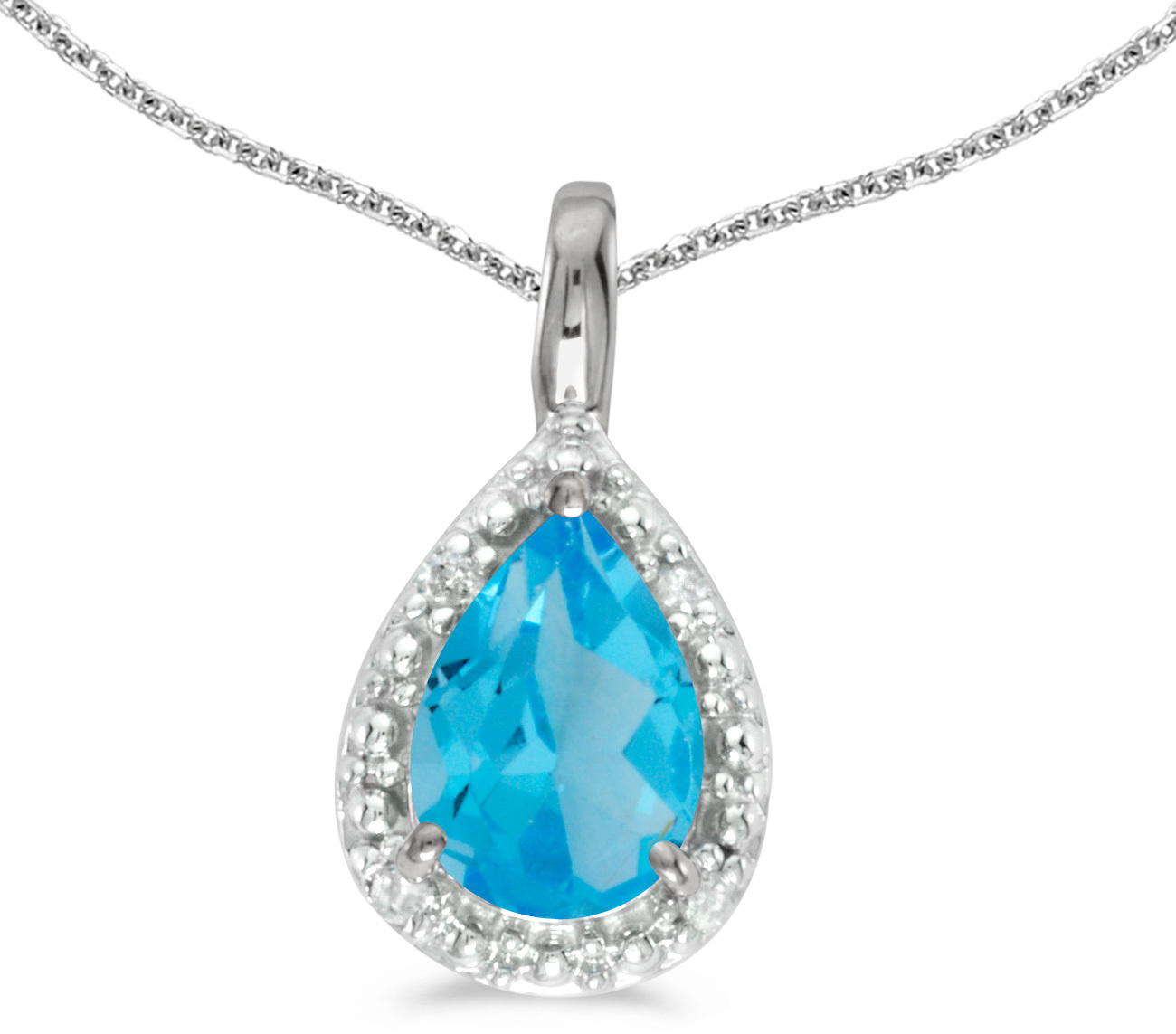 14k White Gold Pear Blue Topaz Pendant (Chain NOT included)