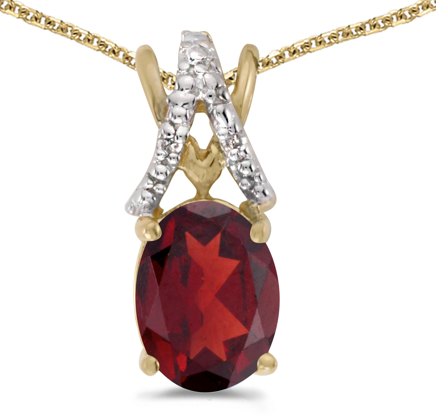 14k Yellow Gold Oval Garnet And Diamond Pendant (Chain NOT included) (CM-P2620X-01)