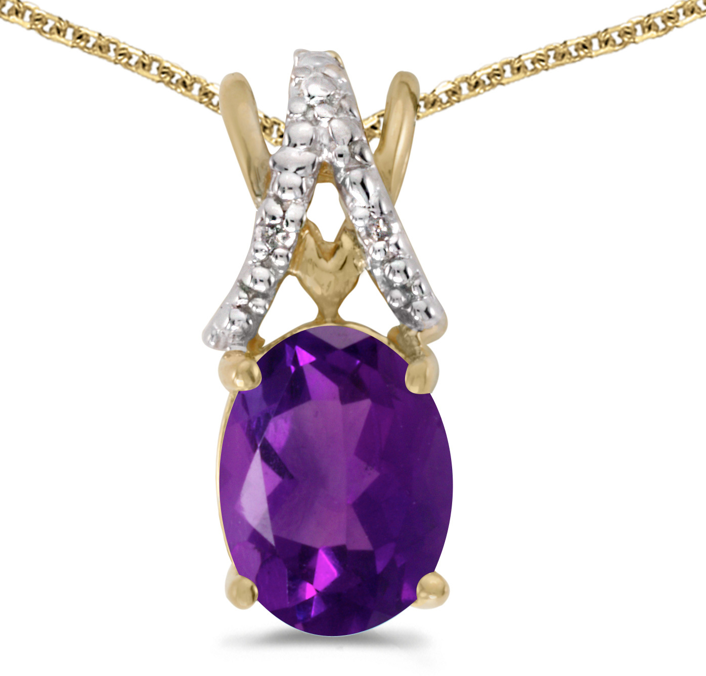 14k Yellow Gold Oval Amethyst And Diamond Pendant (Chain NOT included) (CM-P2620X-02)