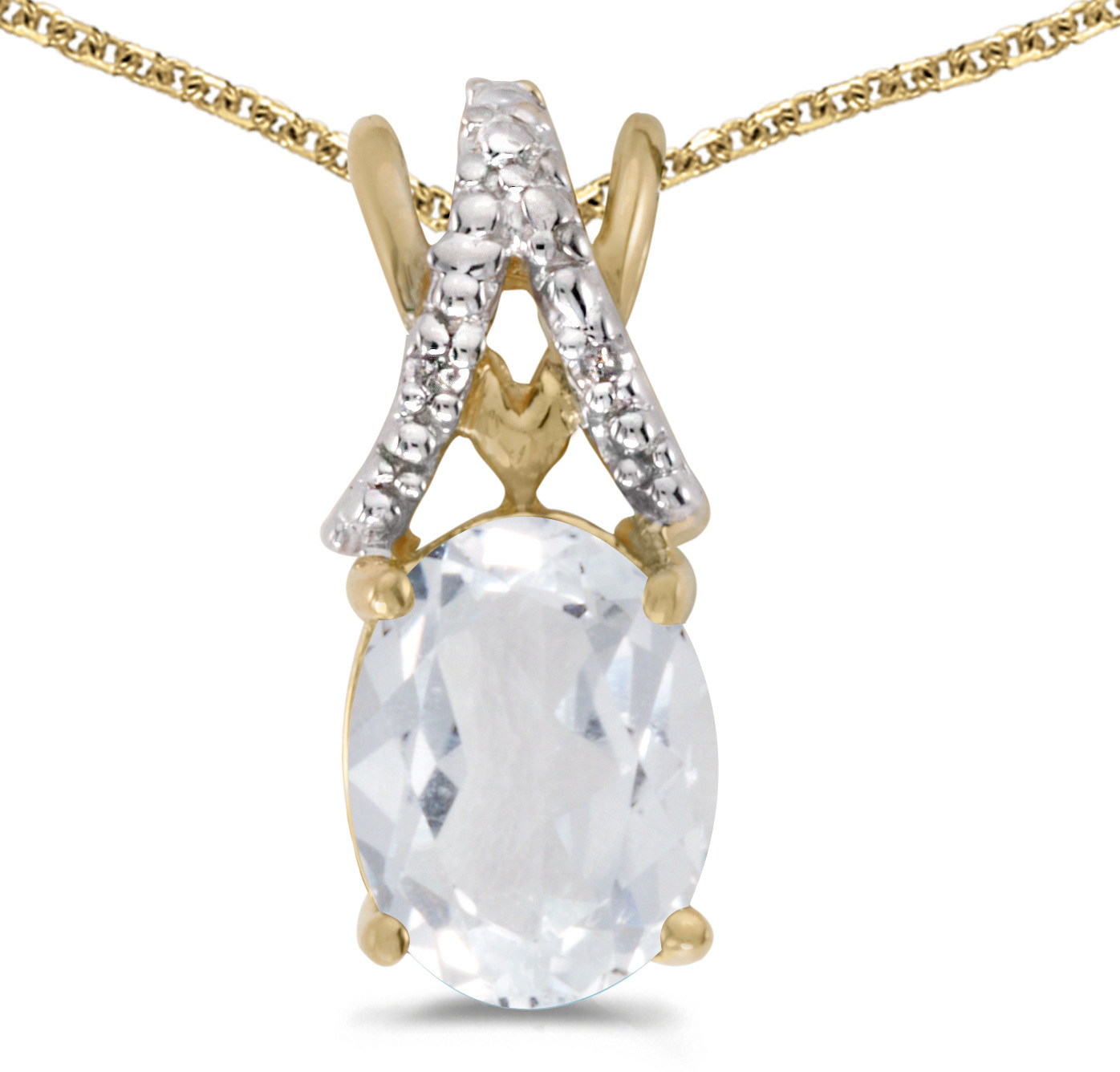 14k Yellow Gold Oval White Topaz And Diamond Pendant (Chain NOT included) (CM-P2620X-04)