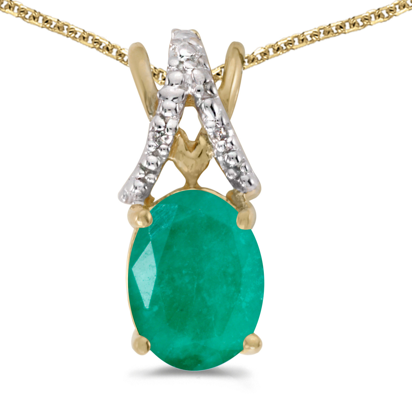 14k Yellow Gold Oval Emerald And Diamond Pendant (Chain NOT included) (CM-P2620X-05)
