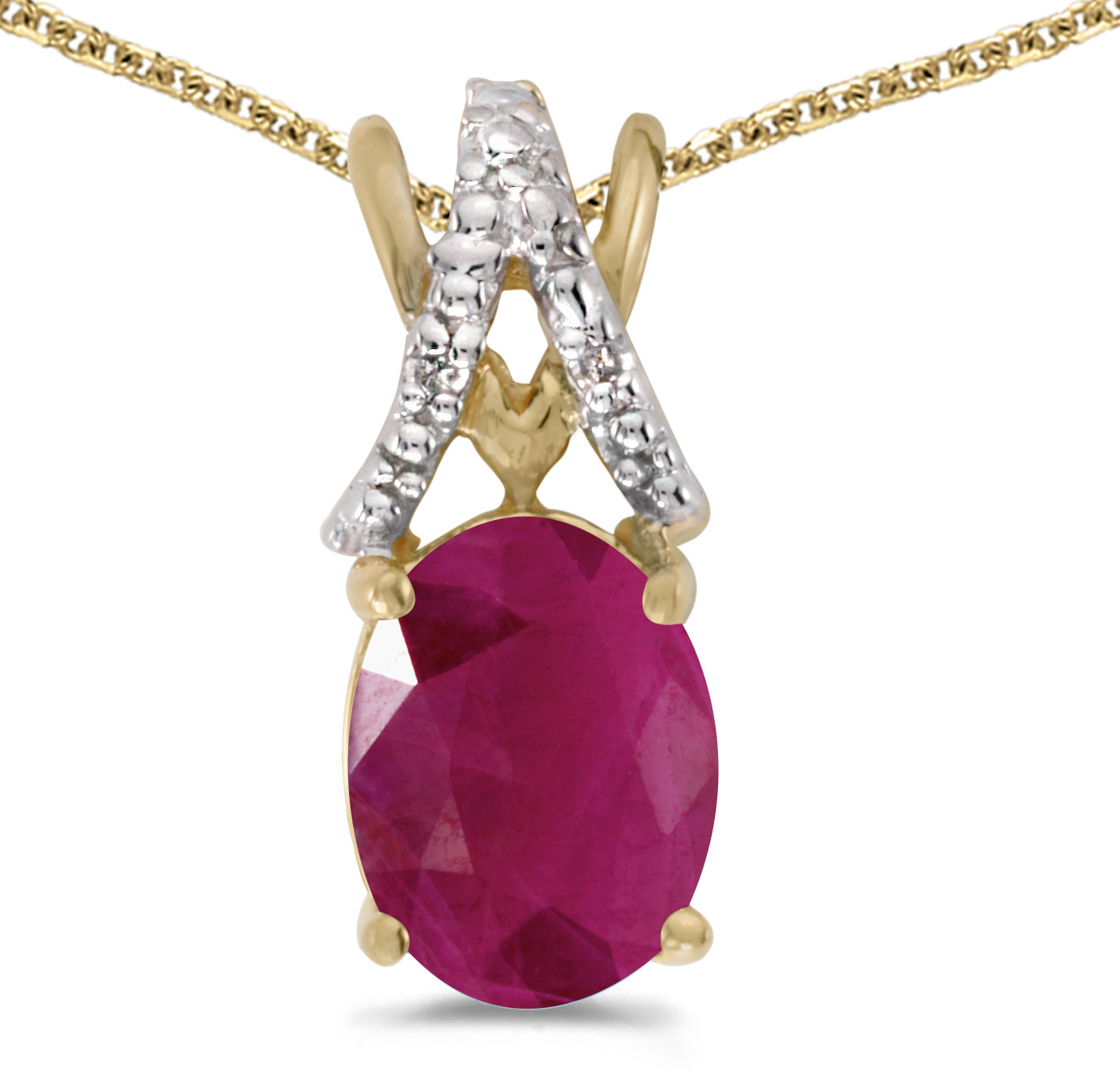 14k Yellow Gold Oval Ruby And Diamond Pendant (Chain NOT included) (CM-P2620X-07)