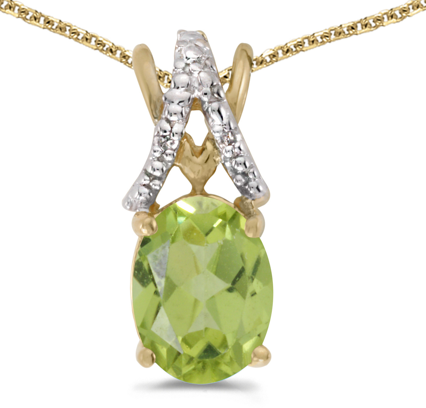 14k Yellow Gold Oval Peridot And Diamond Pendant (Chain NOT included) (CM-P2620X-08)