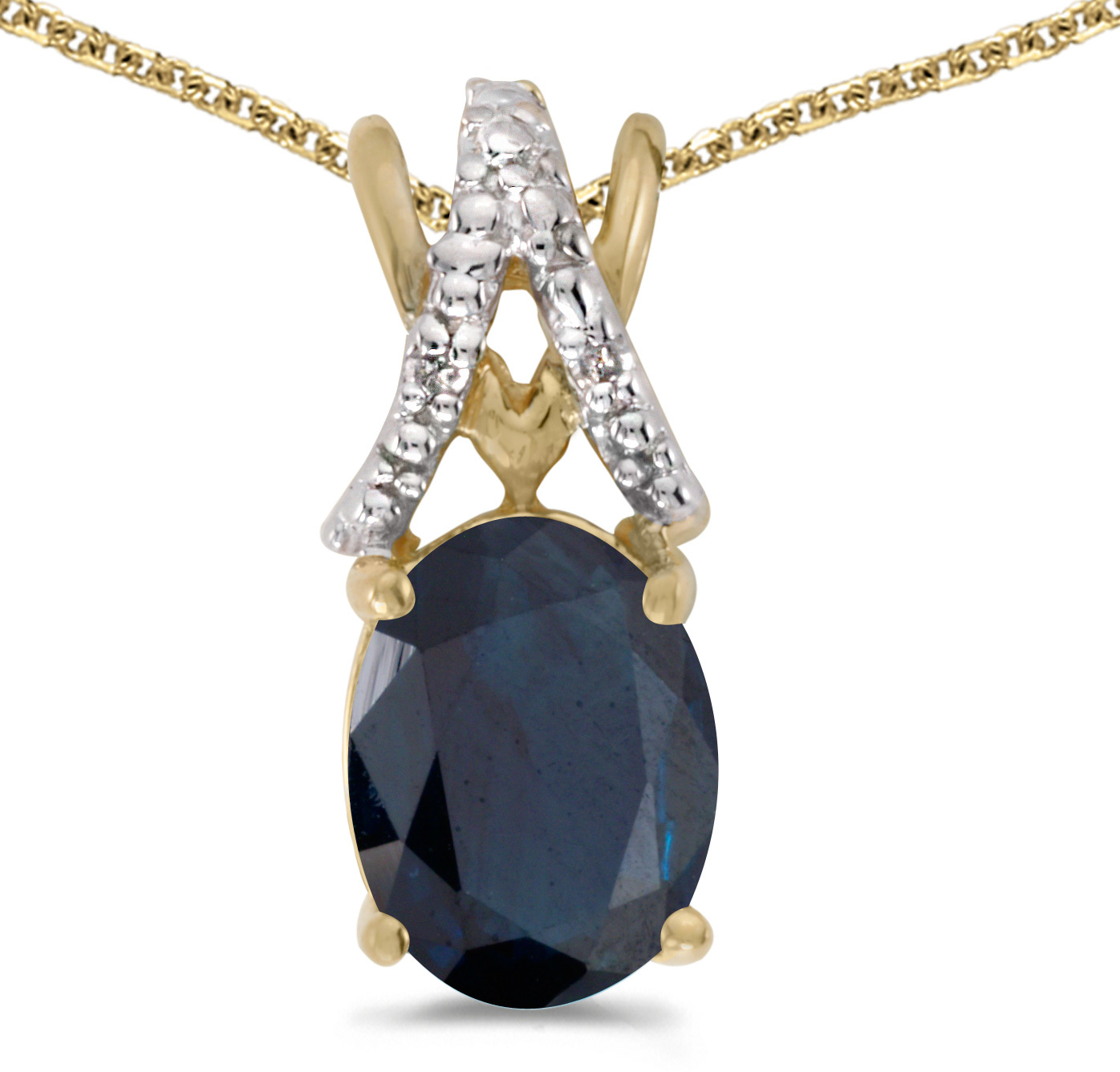 14k Yellow Gold Oval Sapphire And Diamond Pendant (Chain NOT included) (CM-P2620X-09)