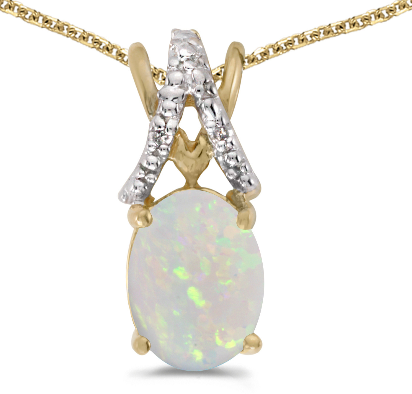 14k Yellow Gold Oval Opal And Diamond Pendant (Chain NOT included) (CM-P2620X-10)