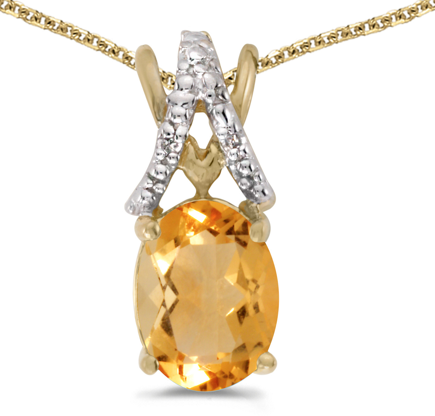 14k Yellow Gold Oval Citrine And Diamond Pendant (Chain NOT included) (CM-P2620X-11)