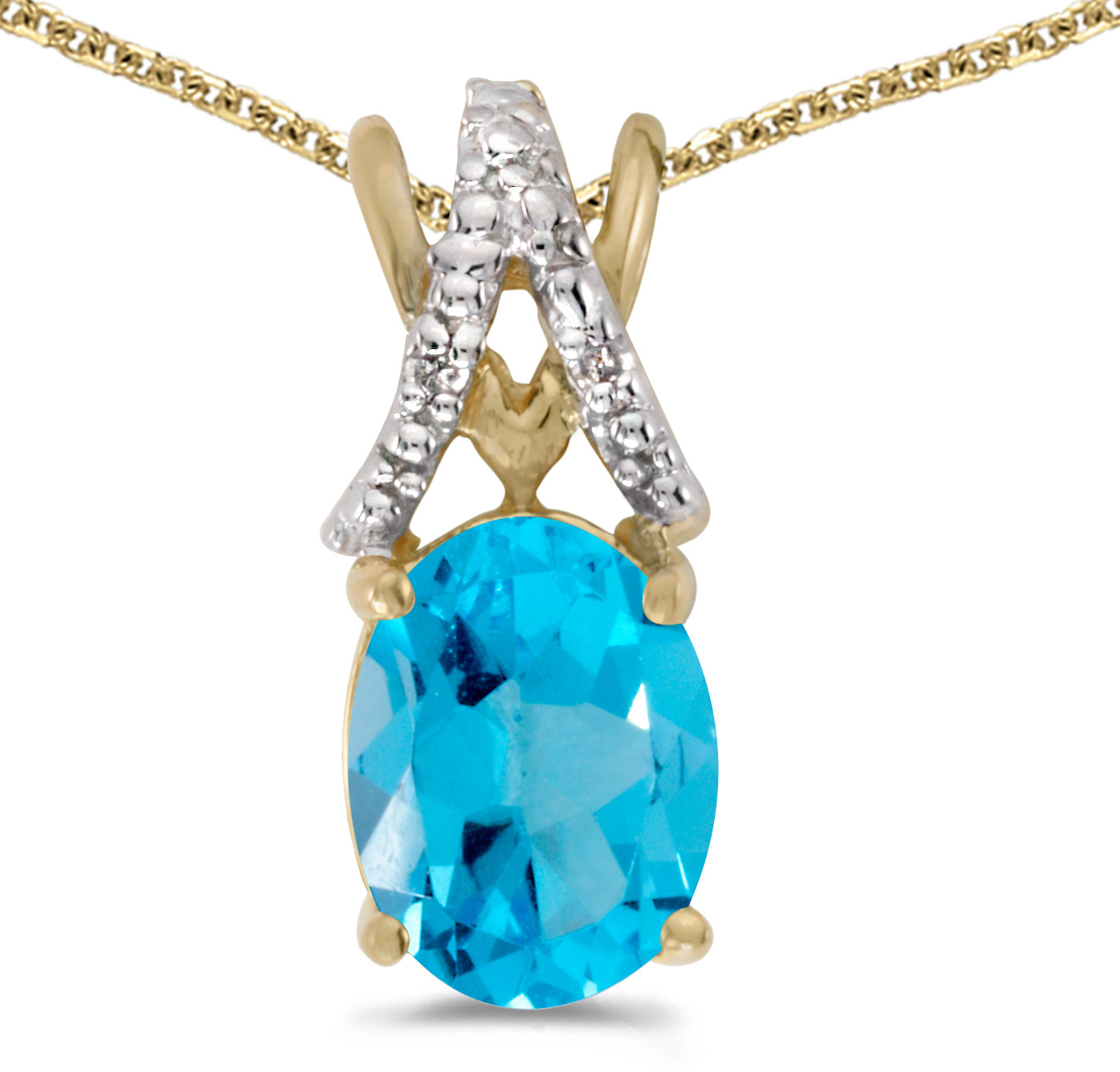 14k Yellow Gold Oval Blue Topaz And Diamond Pendant (Chain NOT included) (CM-P2620X-12)