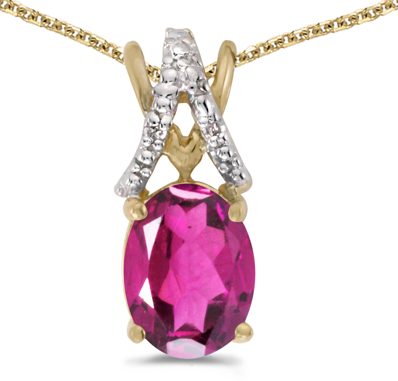 14k Yellow Gold Oval Pink Topaz And Diamond Pendant (Chain NOT included) (CM-P2620X-PT)