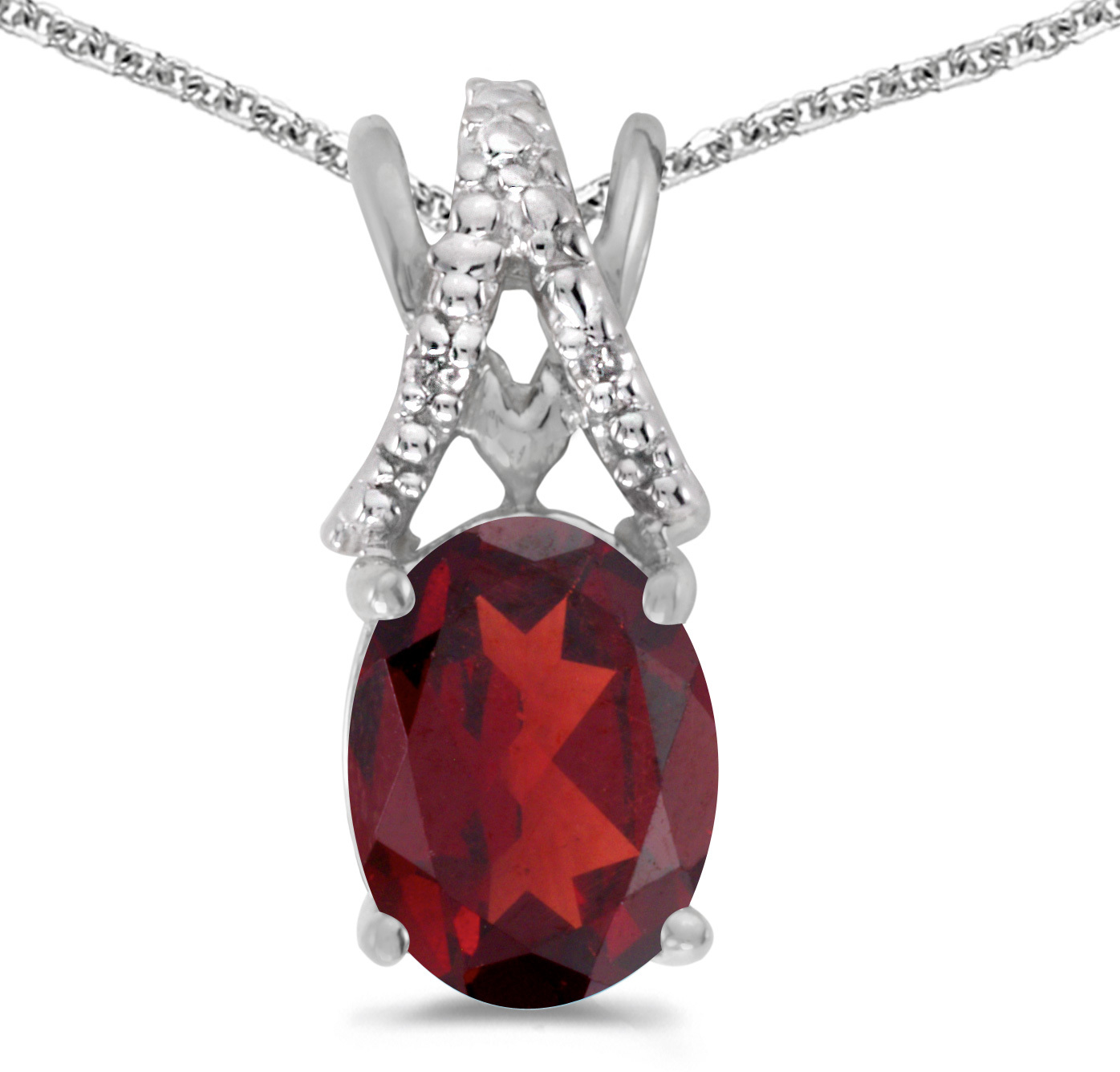 14k White Gold Oval Garnet And Diamond Pendant (Chain NOT included) (CM-P2620XW-01)