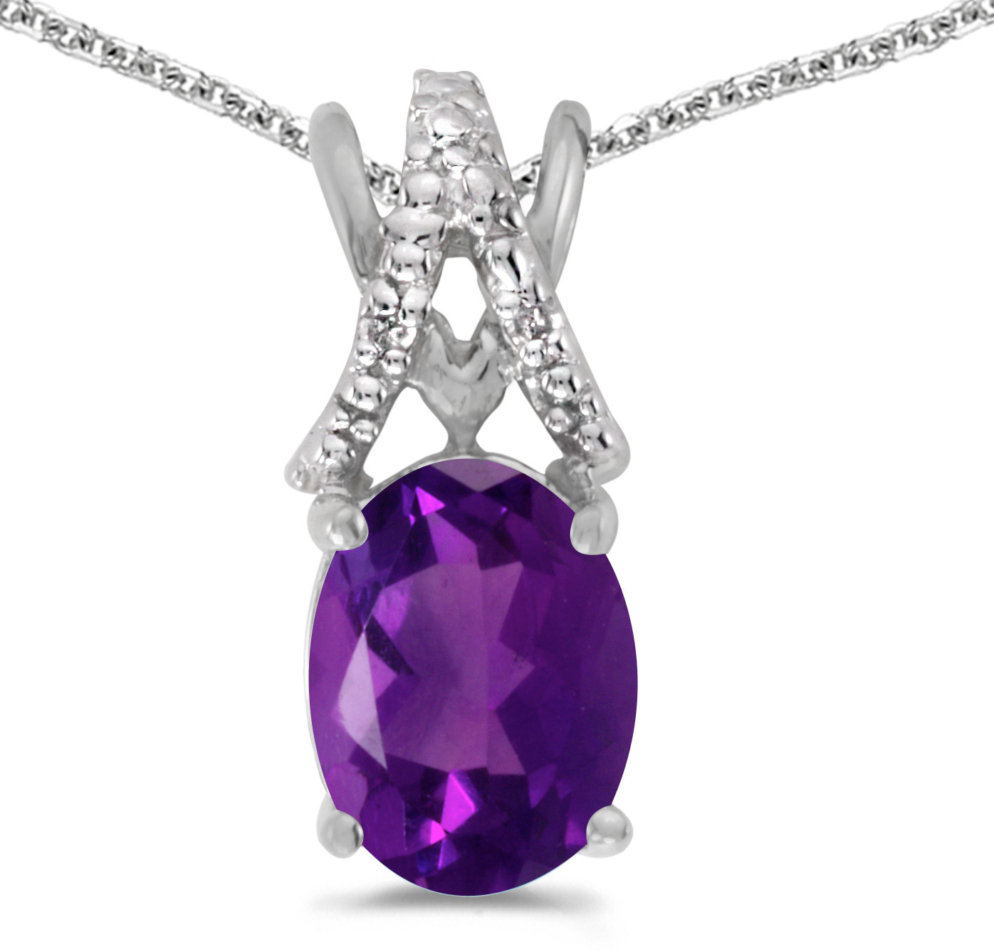 14k White Gold Oval Amethyst And Diamond Pendant (Chain NOT included) (CM-P2620XW-02)