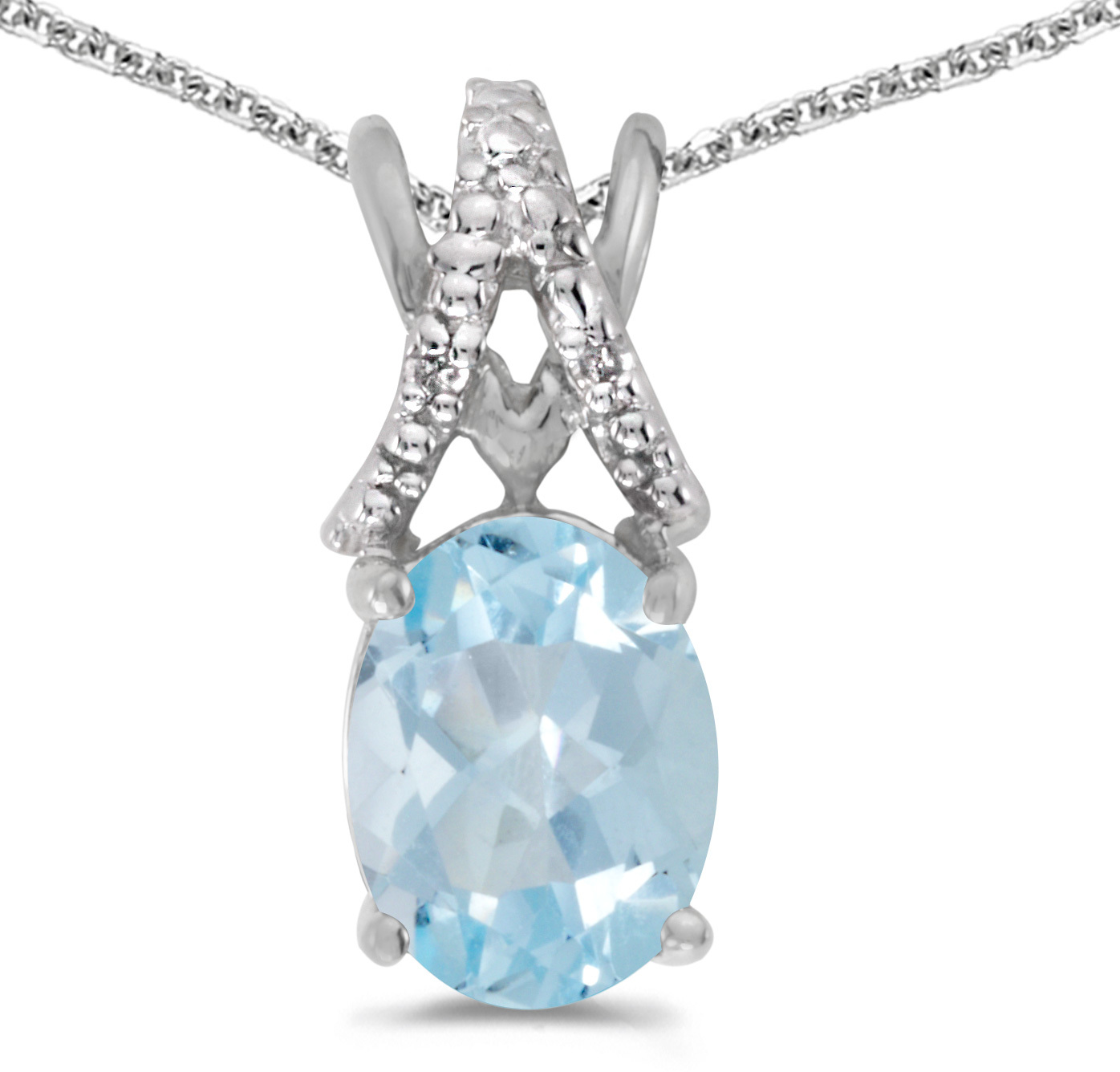 14k White Gold Oval Aquamarine And Diamond Pendant (Chain NOT included) (CM-P2620XW-03)