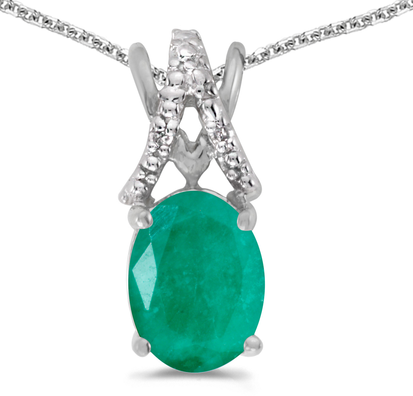 14k White Gold Oval Emerald And Diamond Pendant (Chain NOT included) (CM-P2620XW-05)