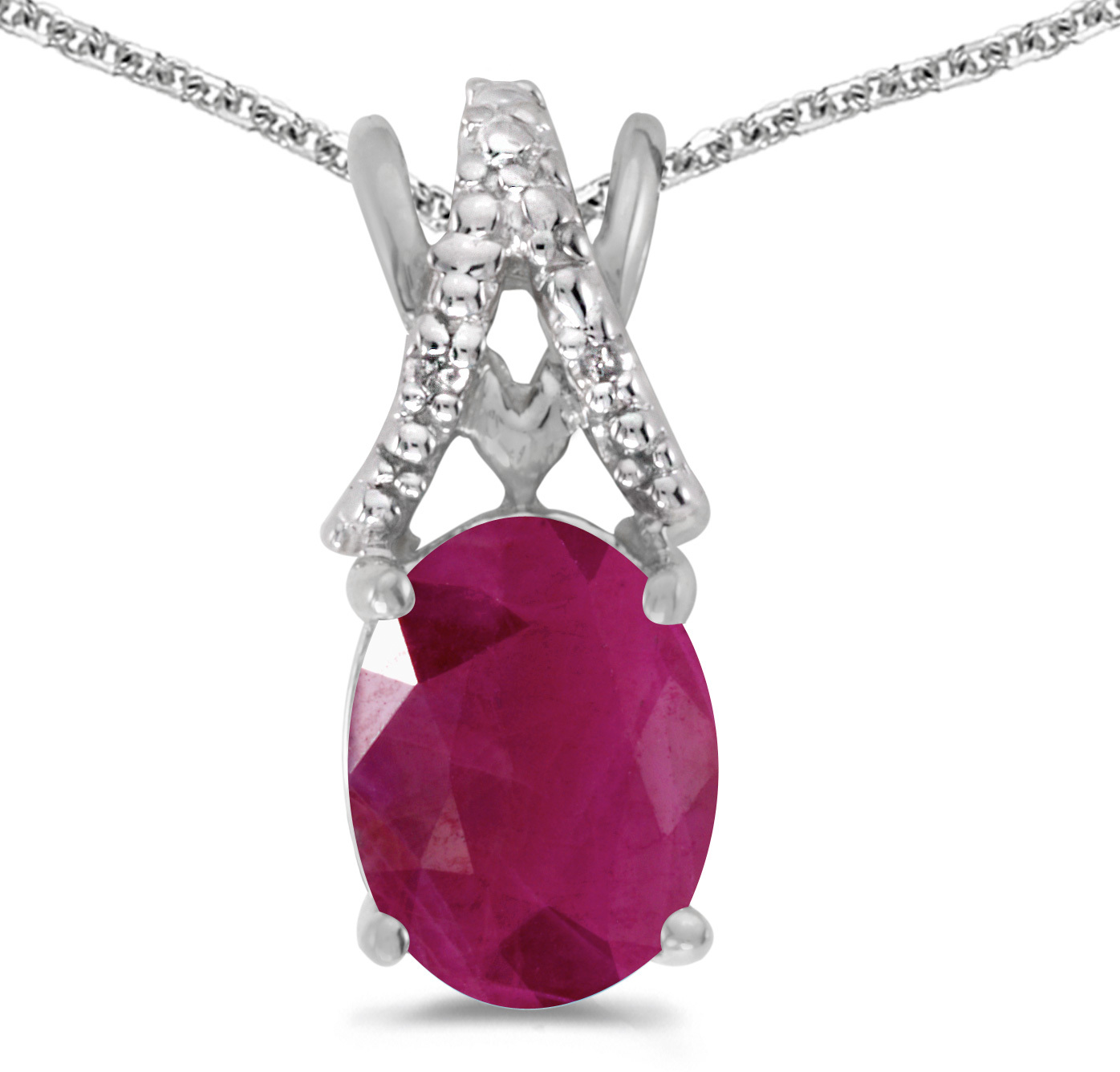14k White Gold Oval Ruby And Diamond Pendant (Chain NOT included) (CM-P2620XW-07)