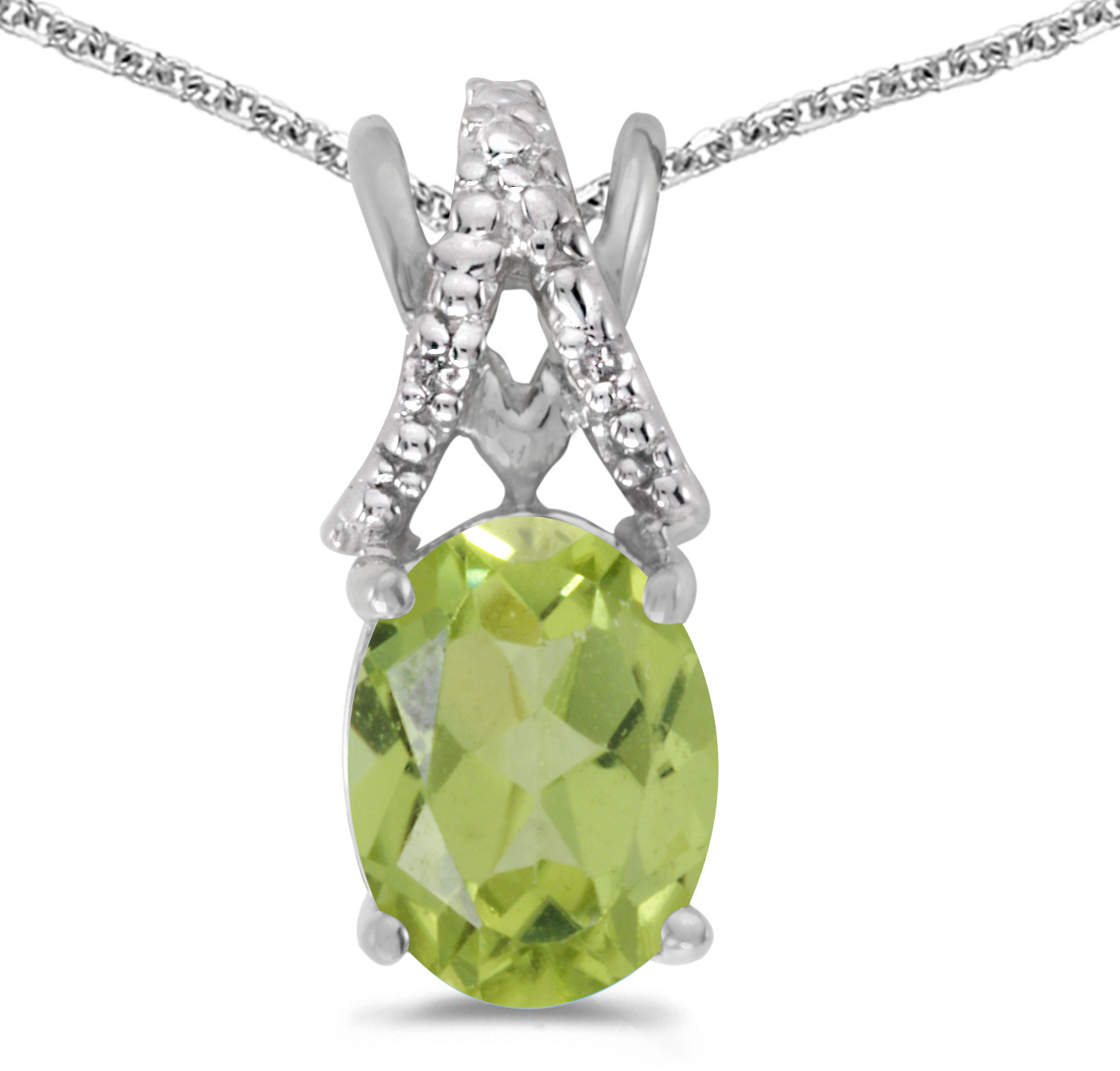 14k White Gold Oval Peridot And Diamond Pendant (Chain NOT included) (CM-P2620XW-08)