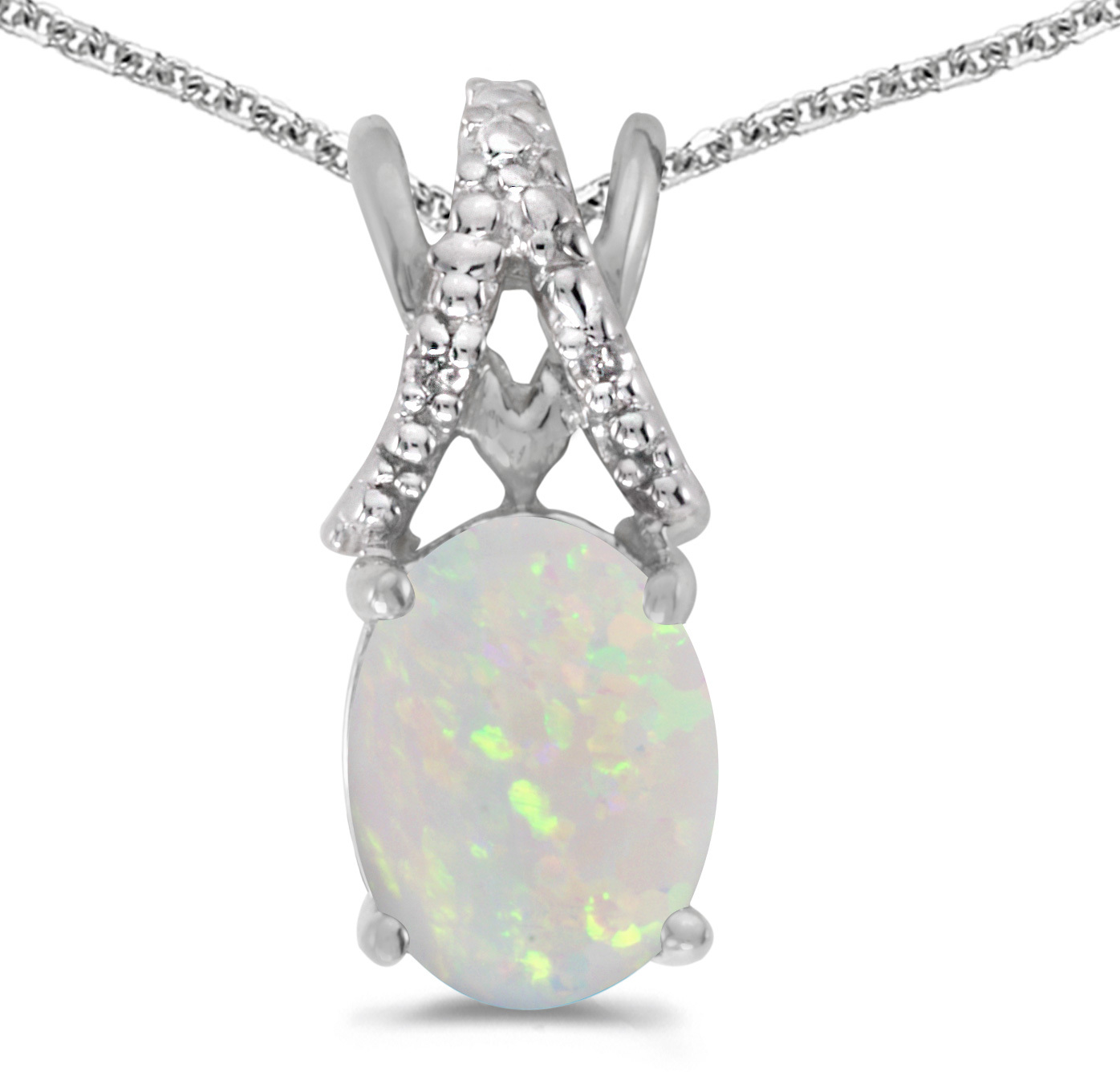 14k White Gold Oval Opal And Diamond Pendant (Chain NOT included) (CM-P2620XW-10)