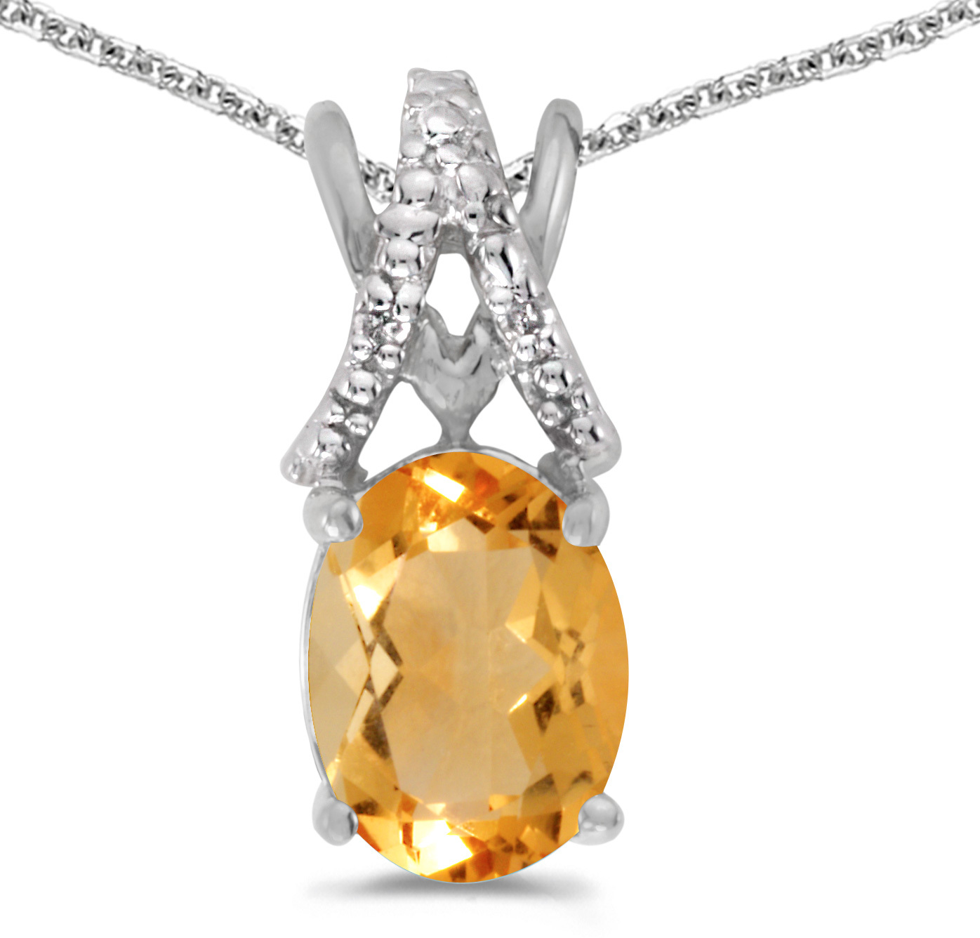 14k White Gold Oval Citrine And Diamond Pendant (Chain NOT included) (CM-P2620XW-11)