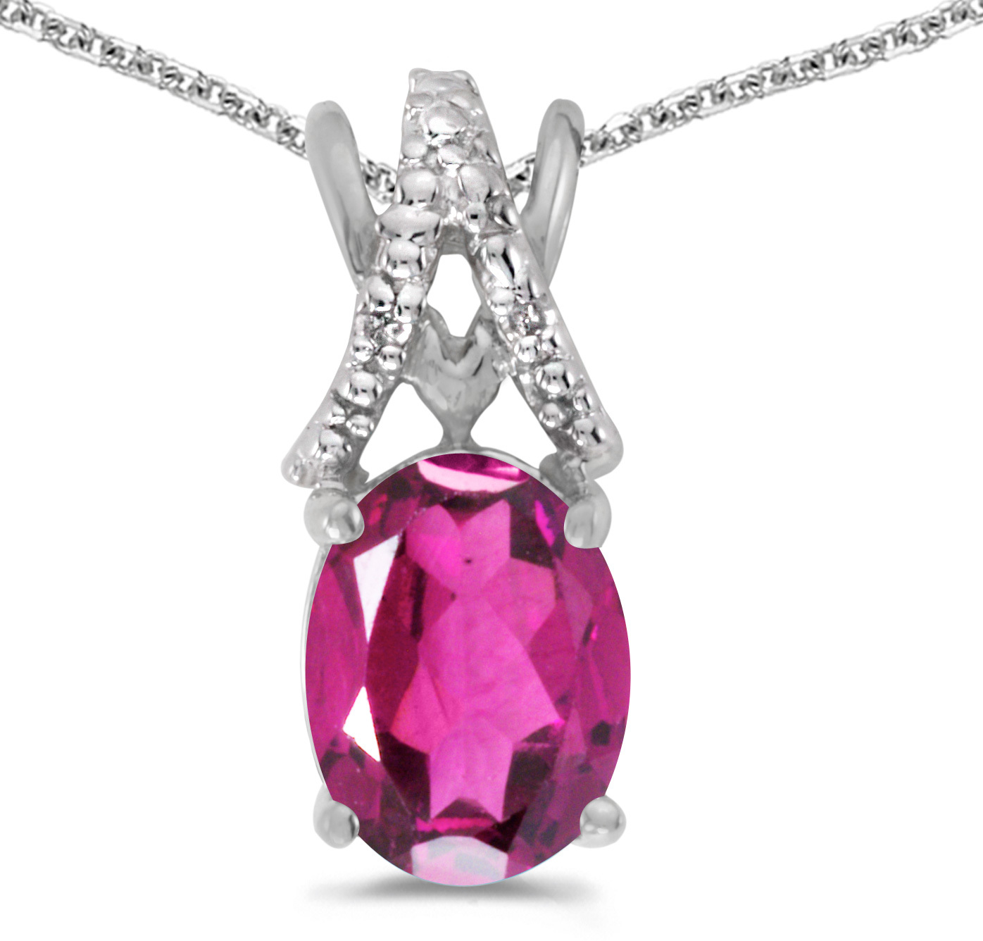 14k White Gold Oval Pink Topaz And Diamond Pendant (Chain NOT included) (CM-P2620XW-PT)