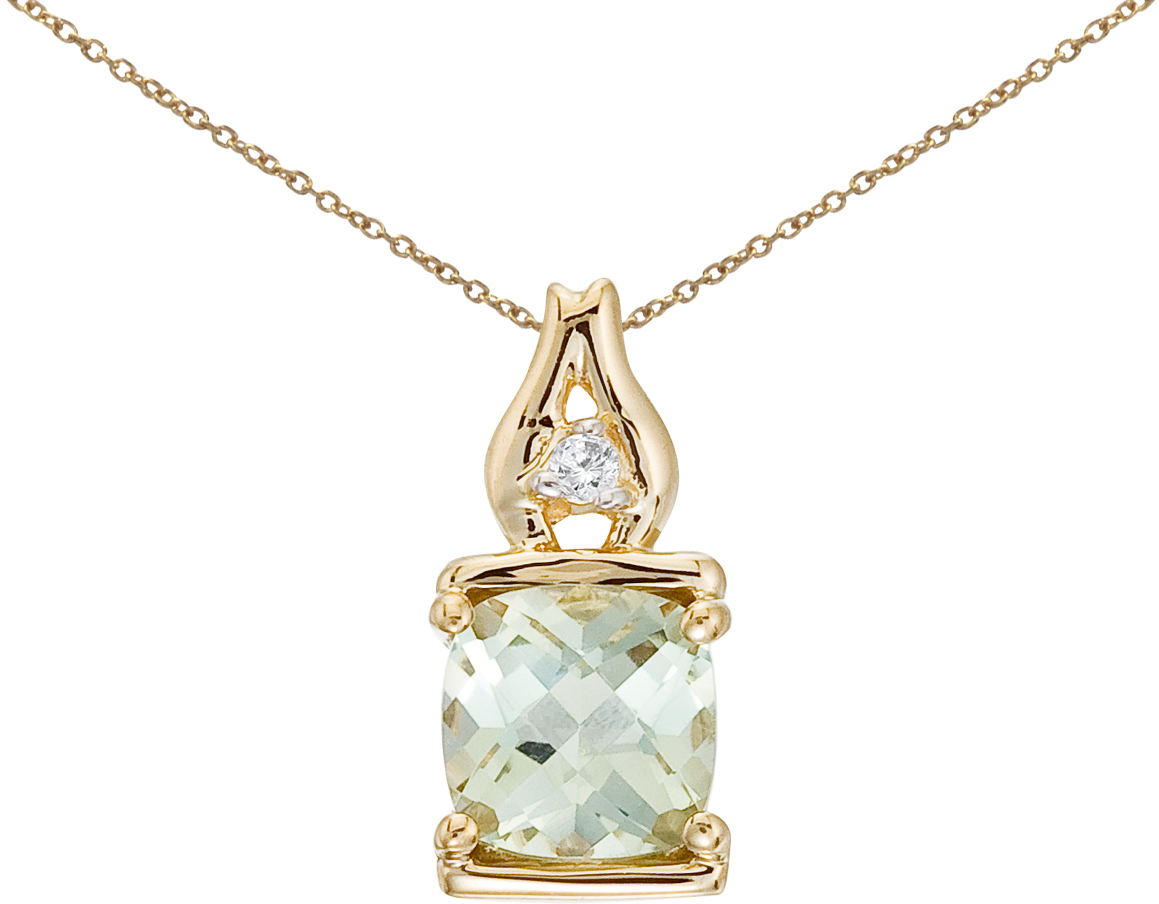 14K Yellow Gold Green Amethyst and Diamond Pendant (Chain NOT included)